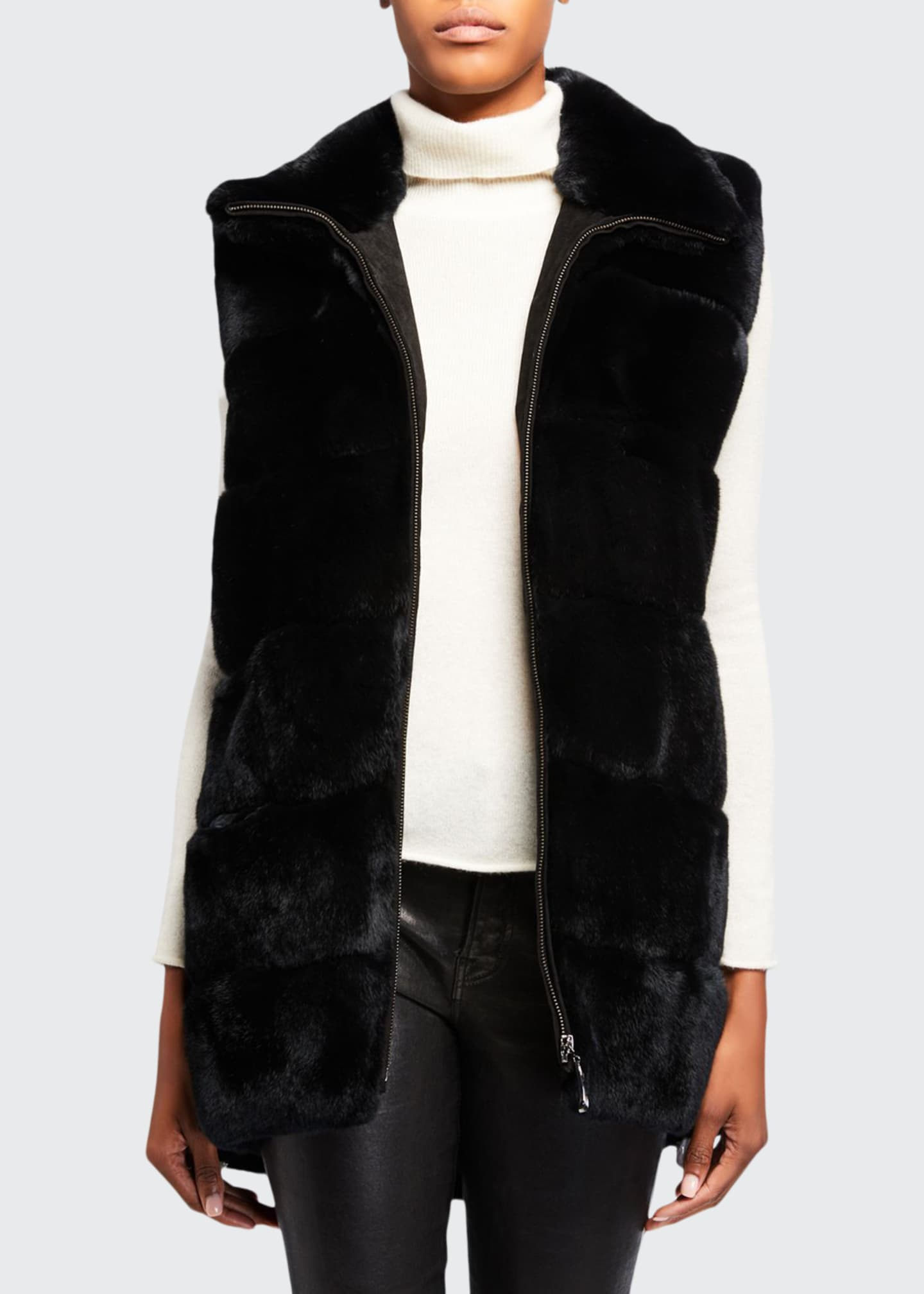 Belle Fare Plush Rabbit Fur Long Vest