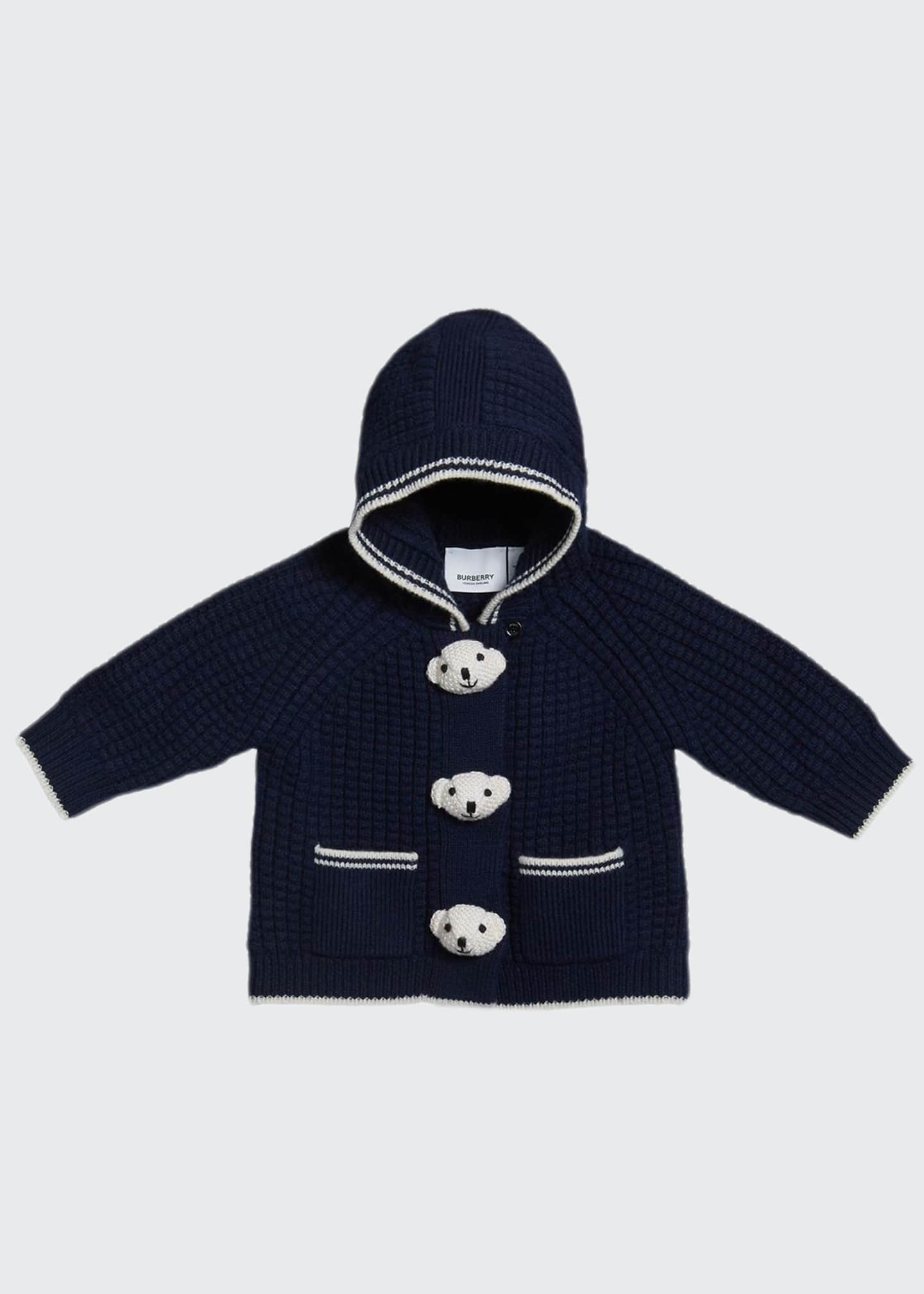 Burberry Boy's Knit Teddy Bear Jacket, Size 3-18