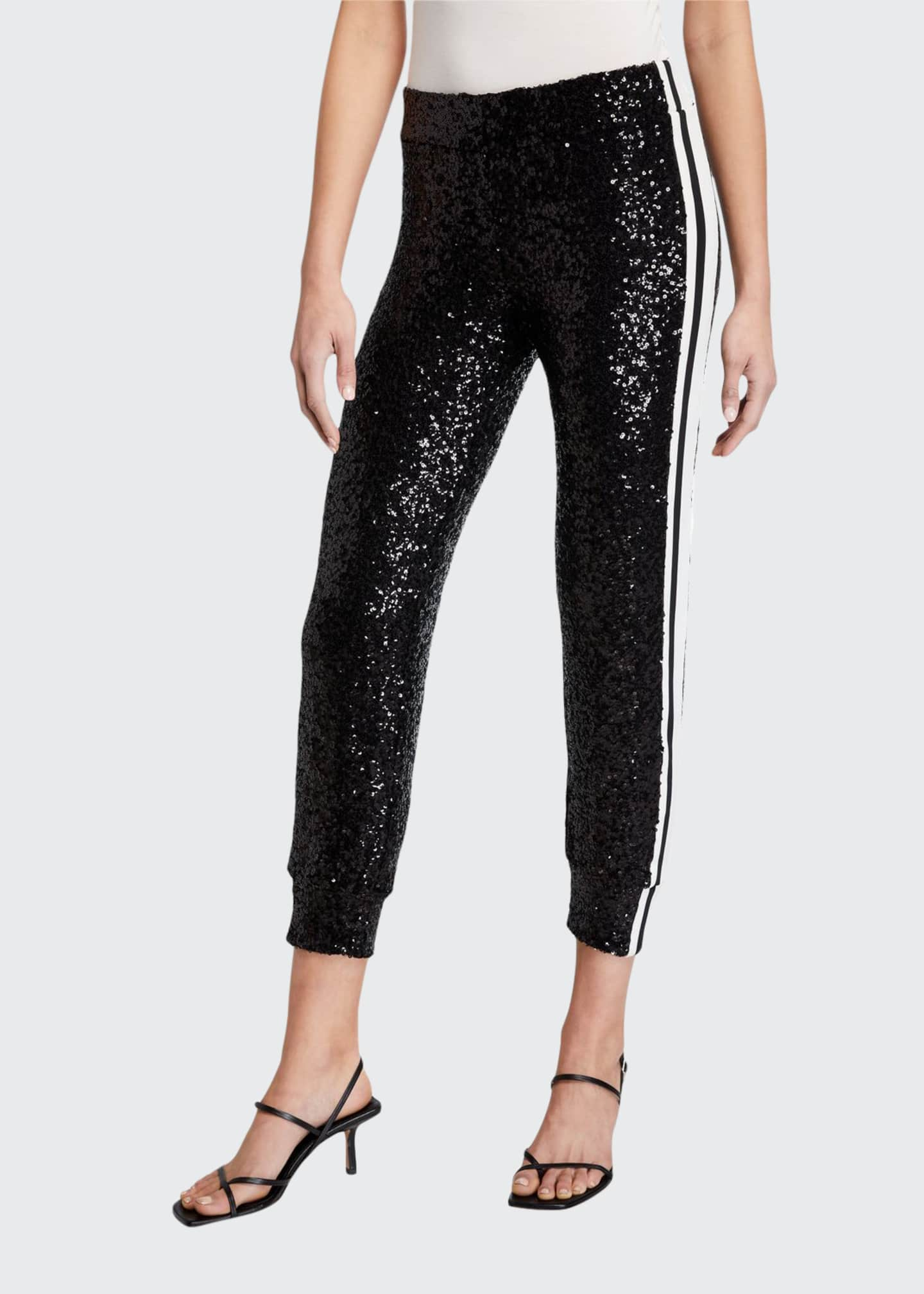 Norma Kamali Overlapping Sequin Side Stripe Jogger Pant
