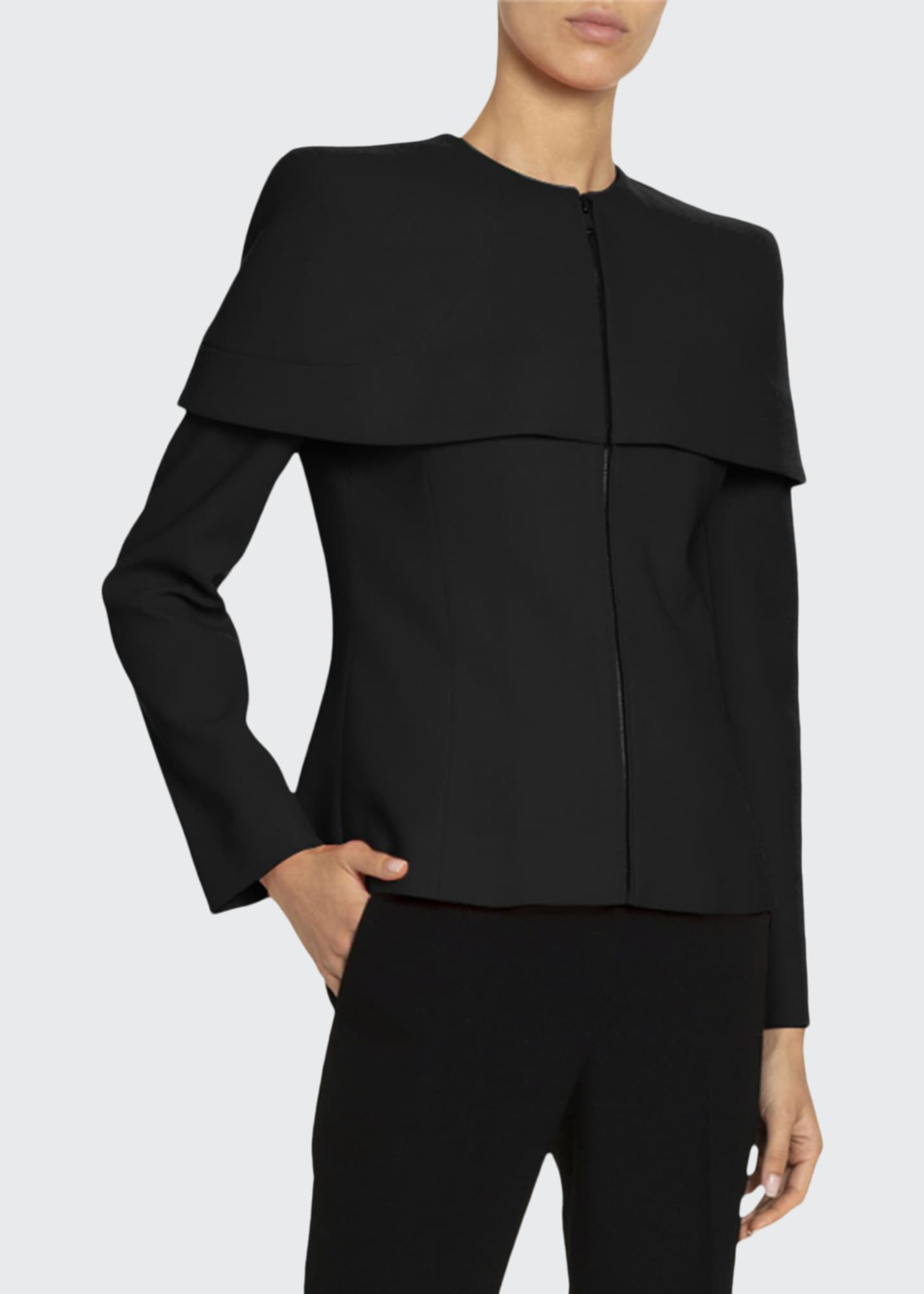 Givenchy Structured-Cape Wool Top