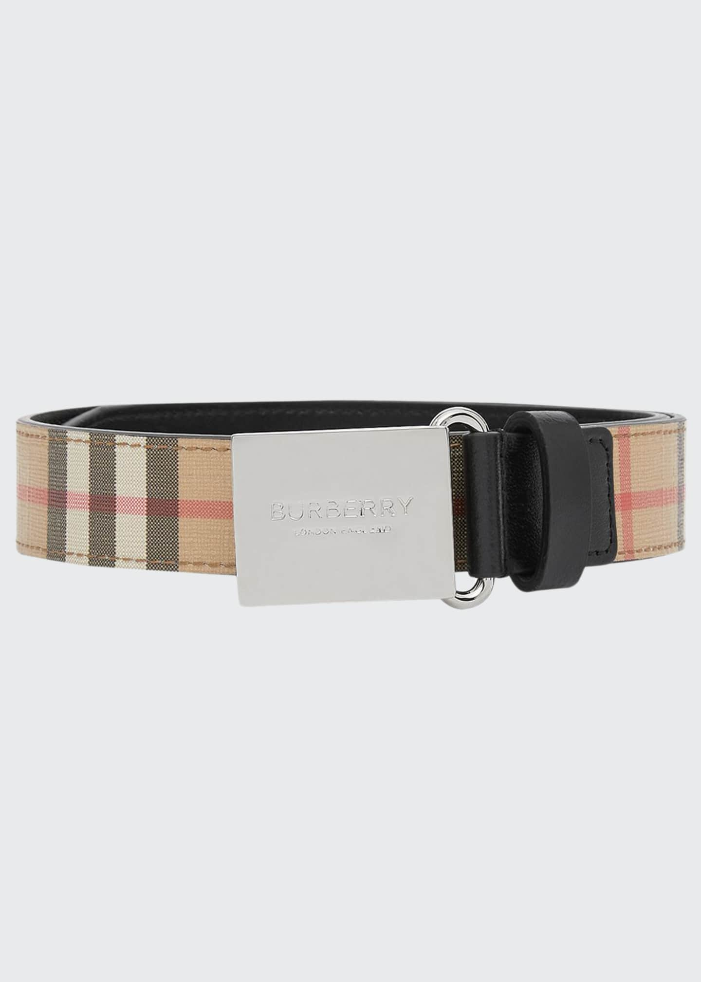 Burberry Kid's Check Belt w/ Logo Plaque Buckle