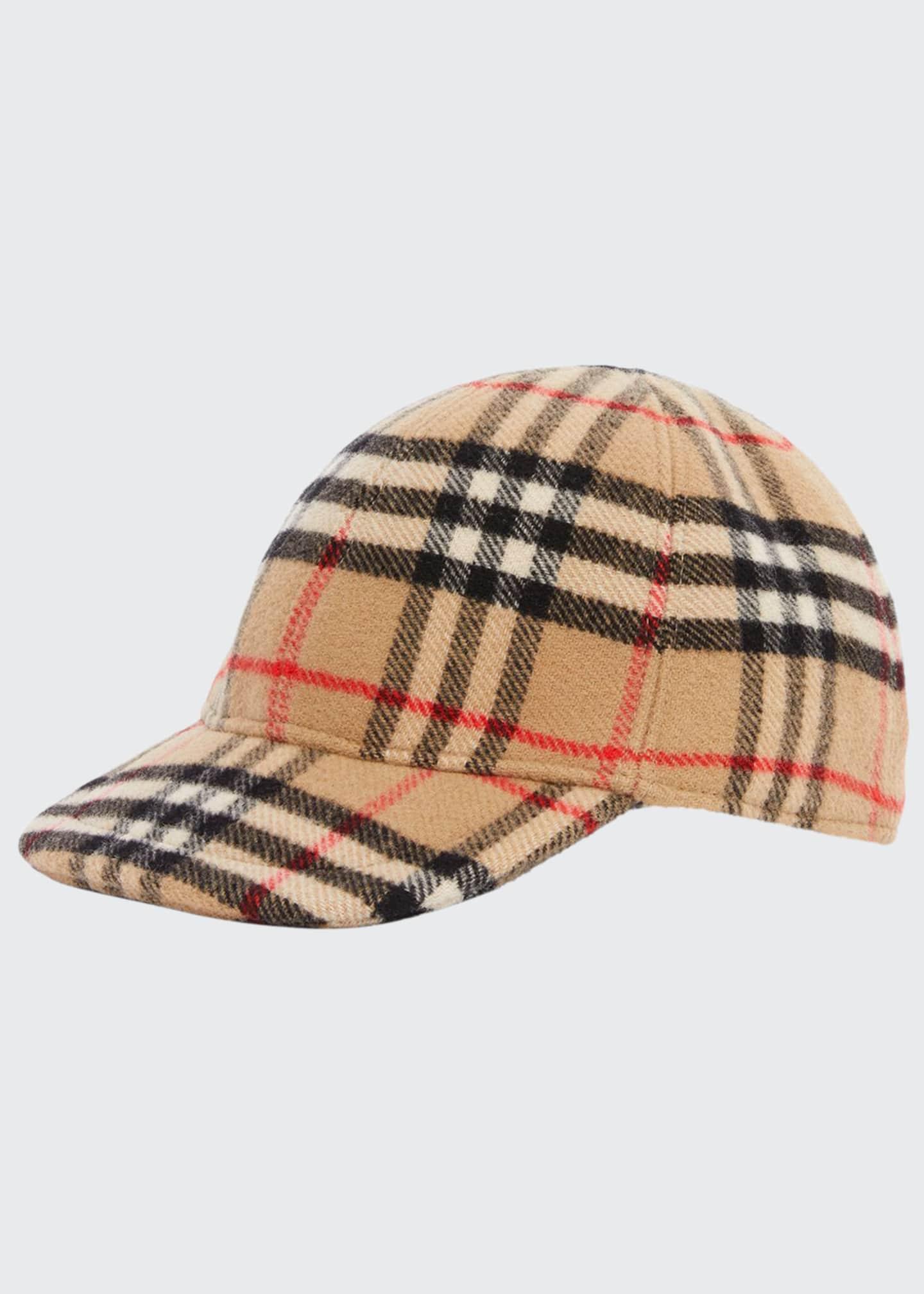 Burberry Kid's Wool Check Baseball Cap