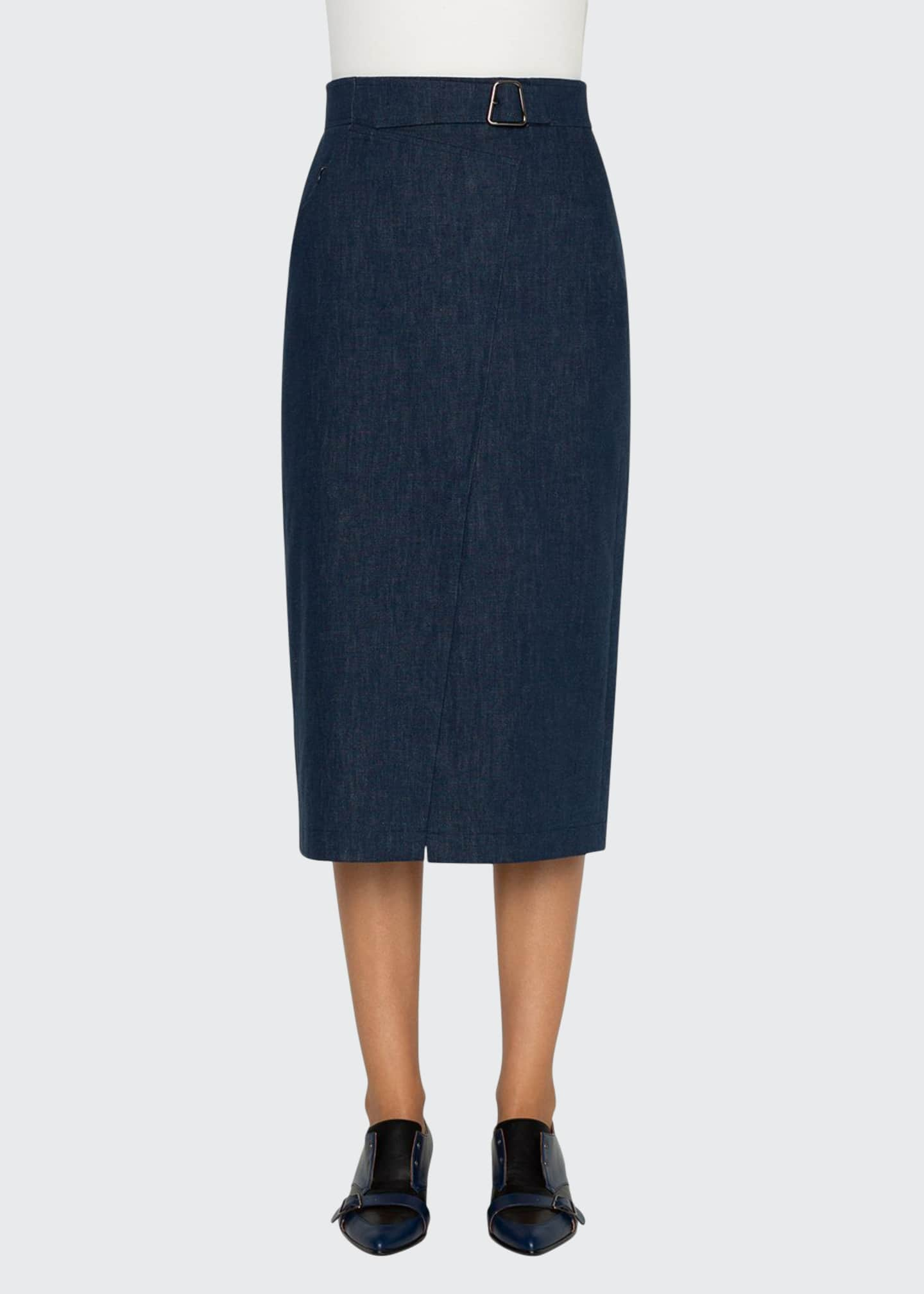 Akris Chambray Faux-Wrap Belted Midi Skirt