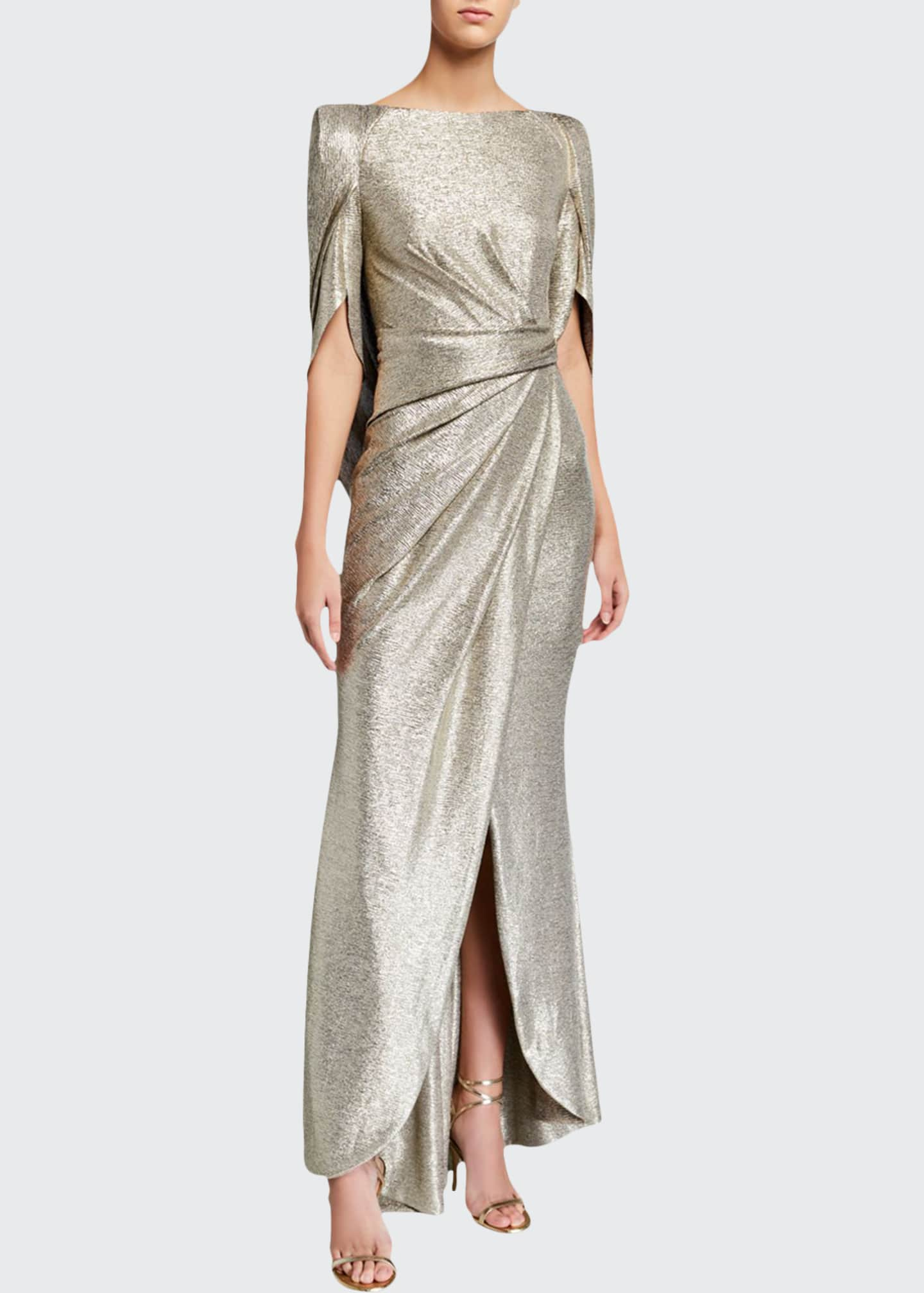Image 1 of 2: Laminated Jersey Mid-Sleeve Gown
