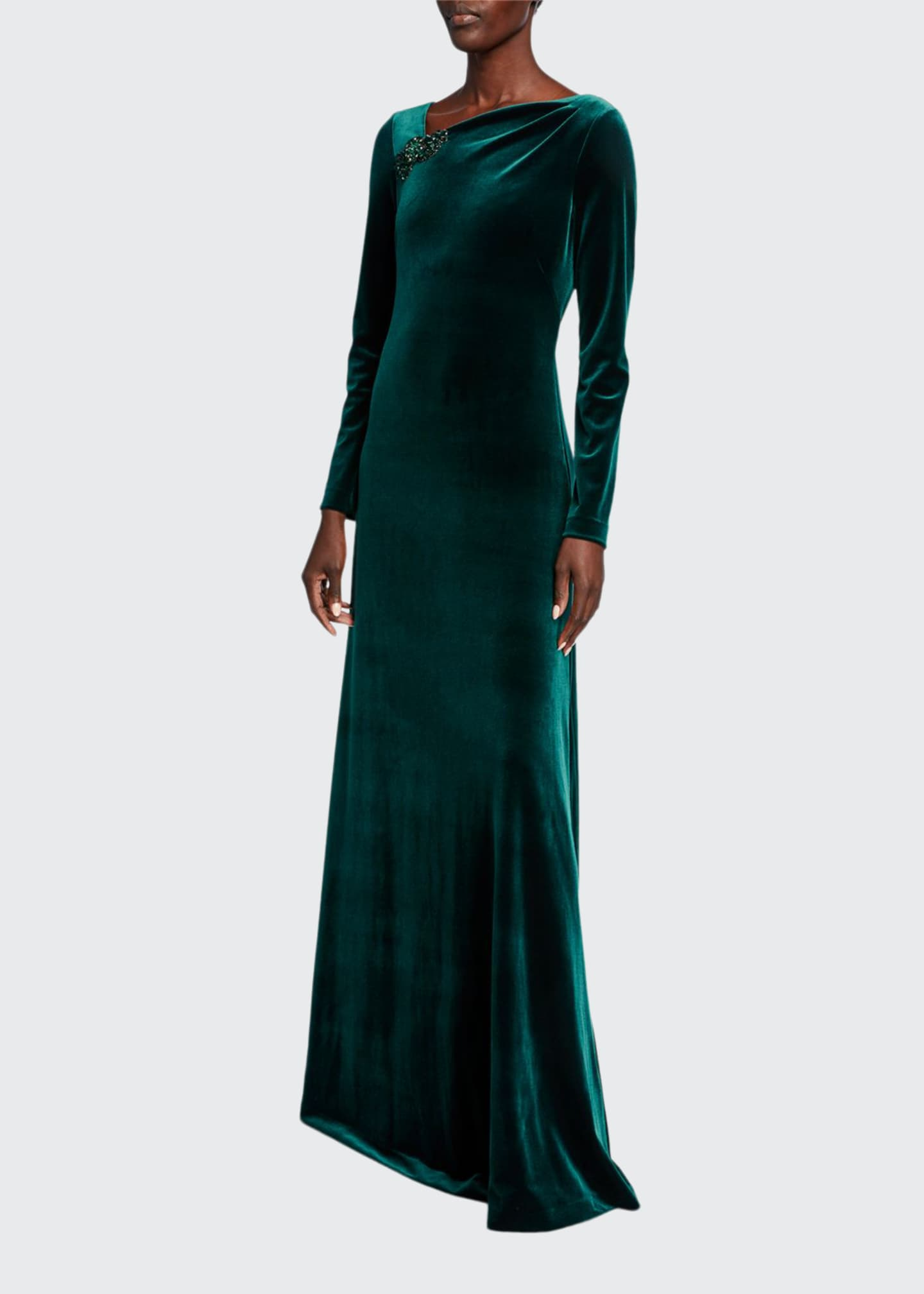 Image 1 of 2: Asymmetric Neck Long-Sleeve Velvet Gown