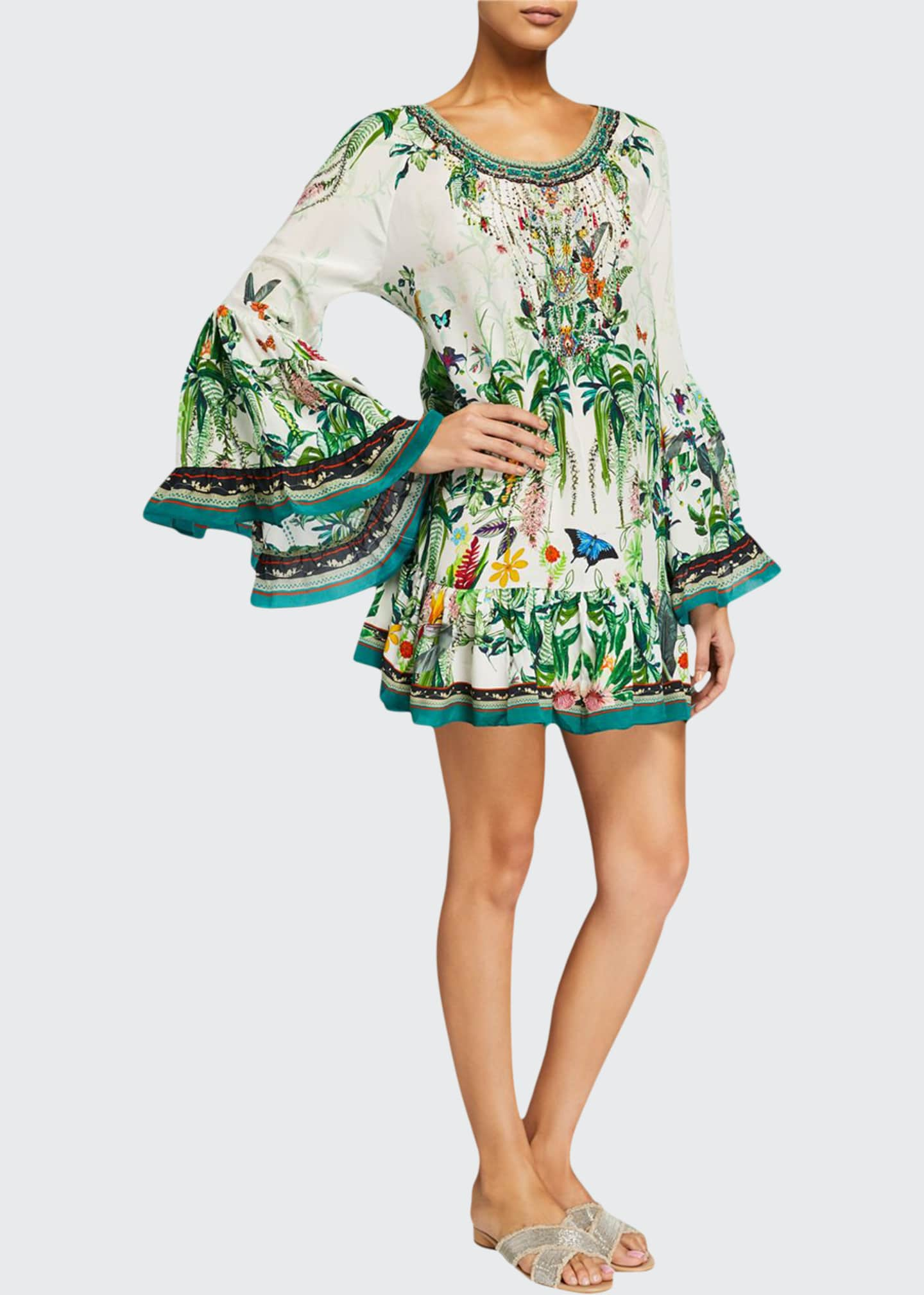 Floral A-Line Flared-Sleeve Mini Frill Dress