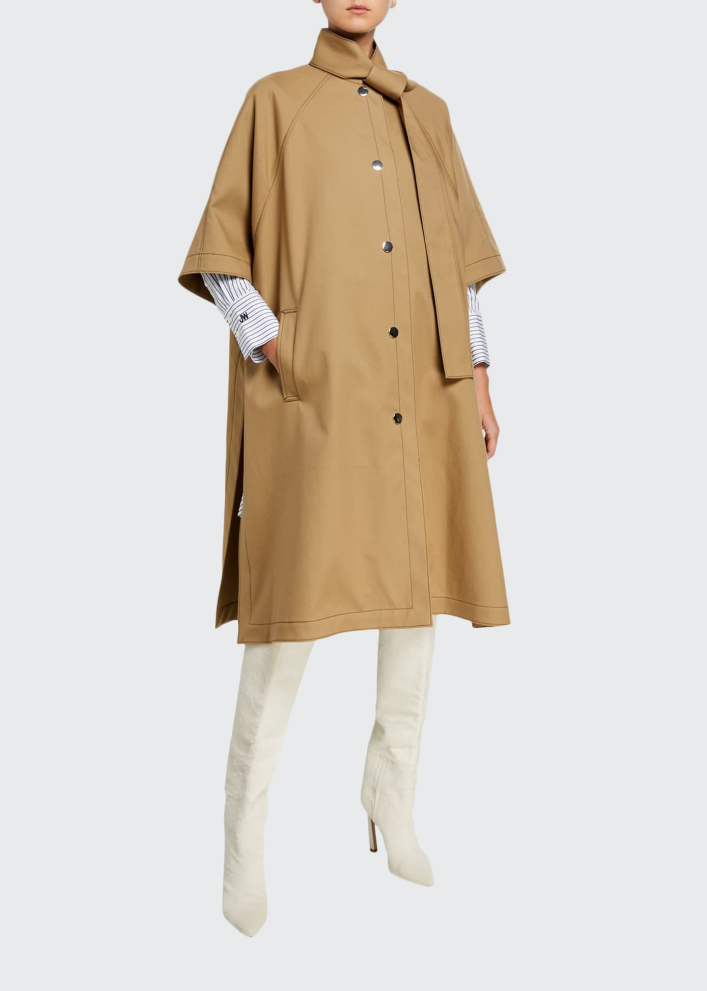 Jason Wu Button-Front Tie-Neck Cotton Rain Coat