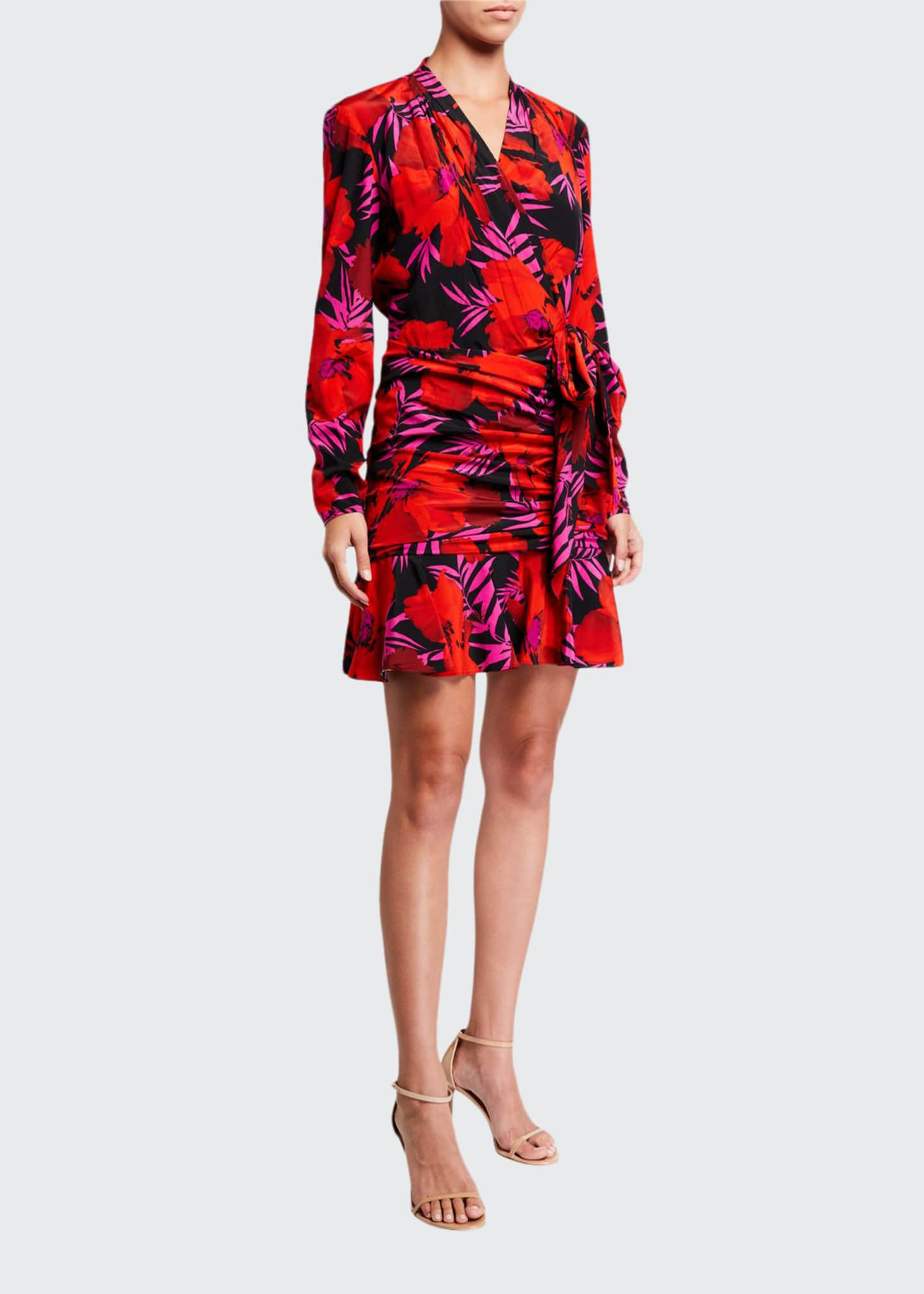 Image 1 of 2: Lorina Floral-Print Tie-Front Dress