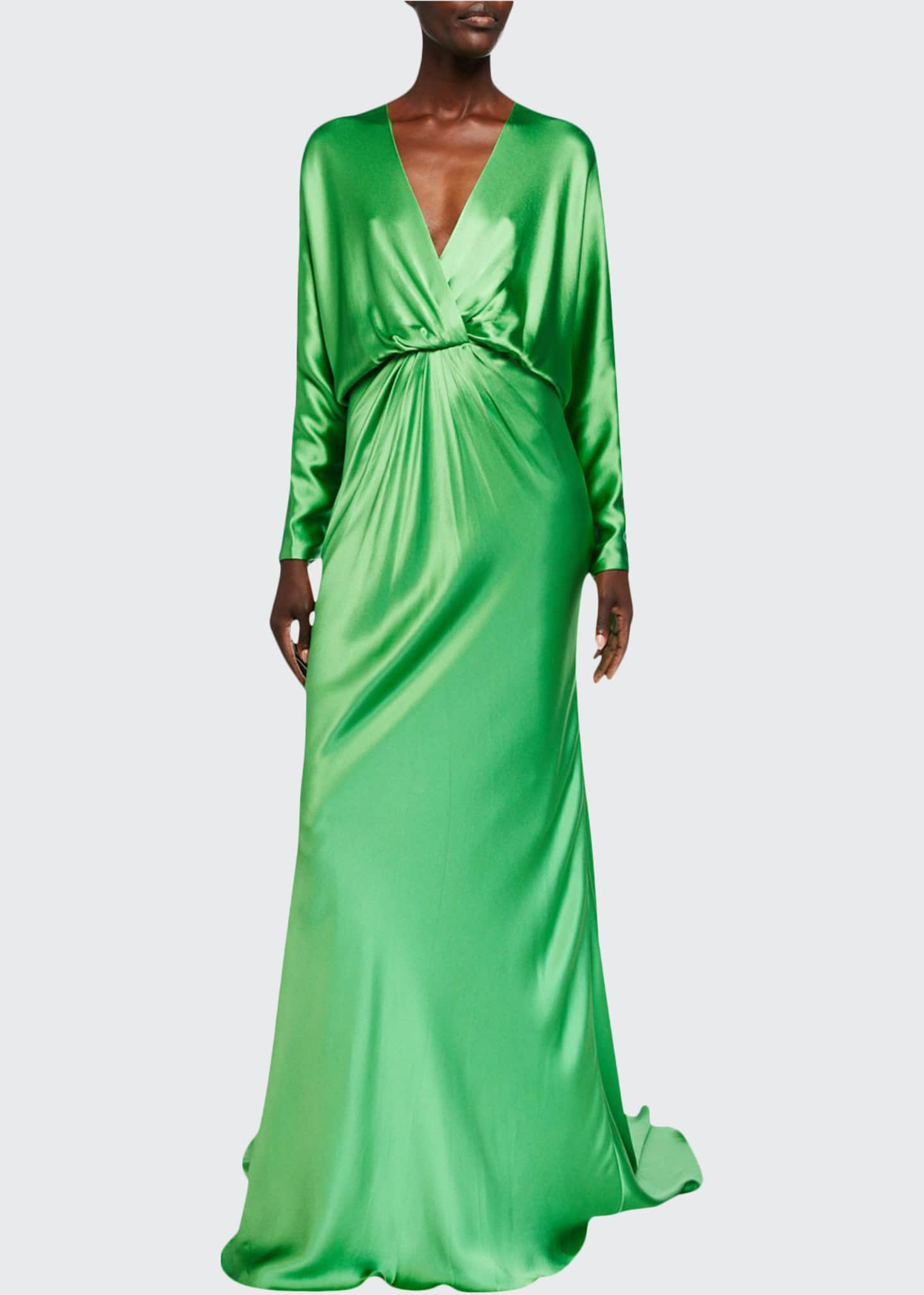 Image 1 of 2: Crepe-Back Satin Draped Dolman Sleeve Gown