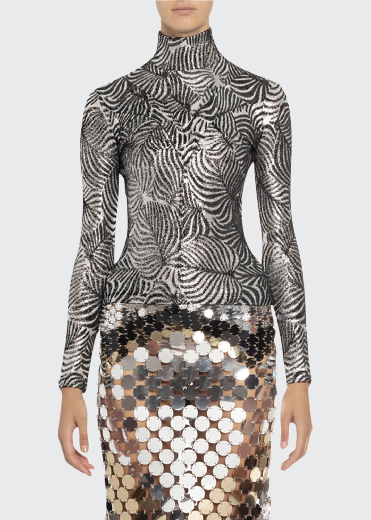 Paco Rabanne Silver Leaf Print Turtleneck Sweater