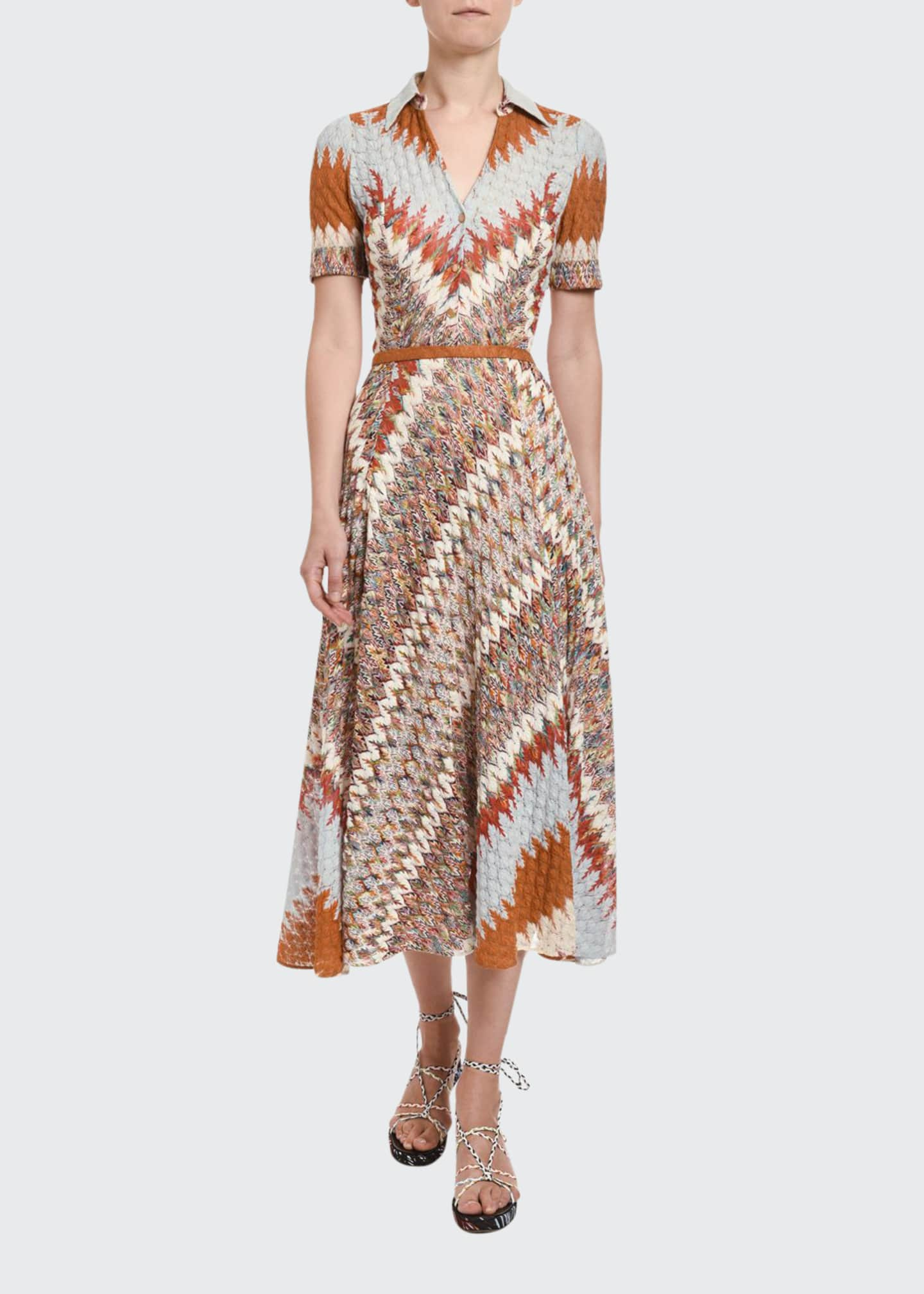 Missoni Optical Zigzag Knit Button-Front Midi Dress
