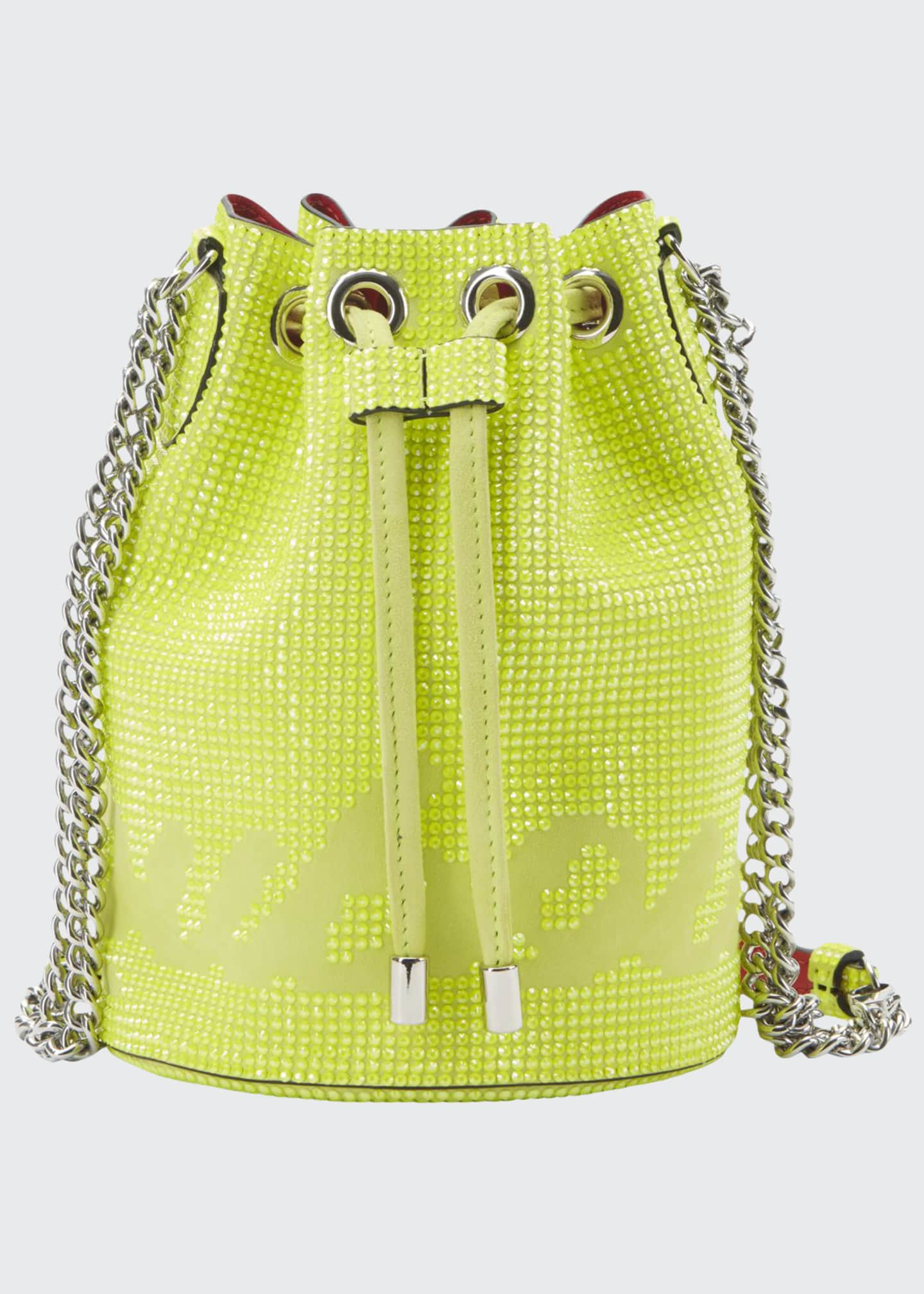 Image 1 of 1: Marie Jane Crystal-Studded Suede Bucket Bag