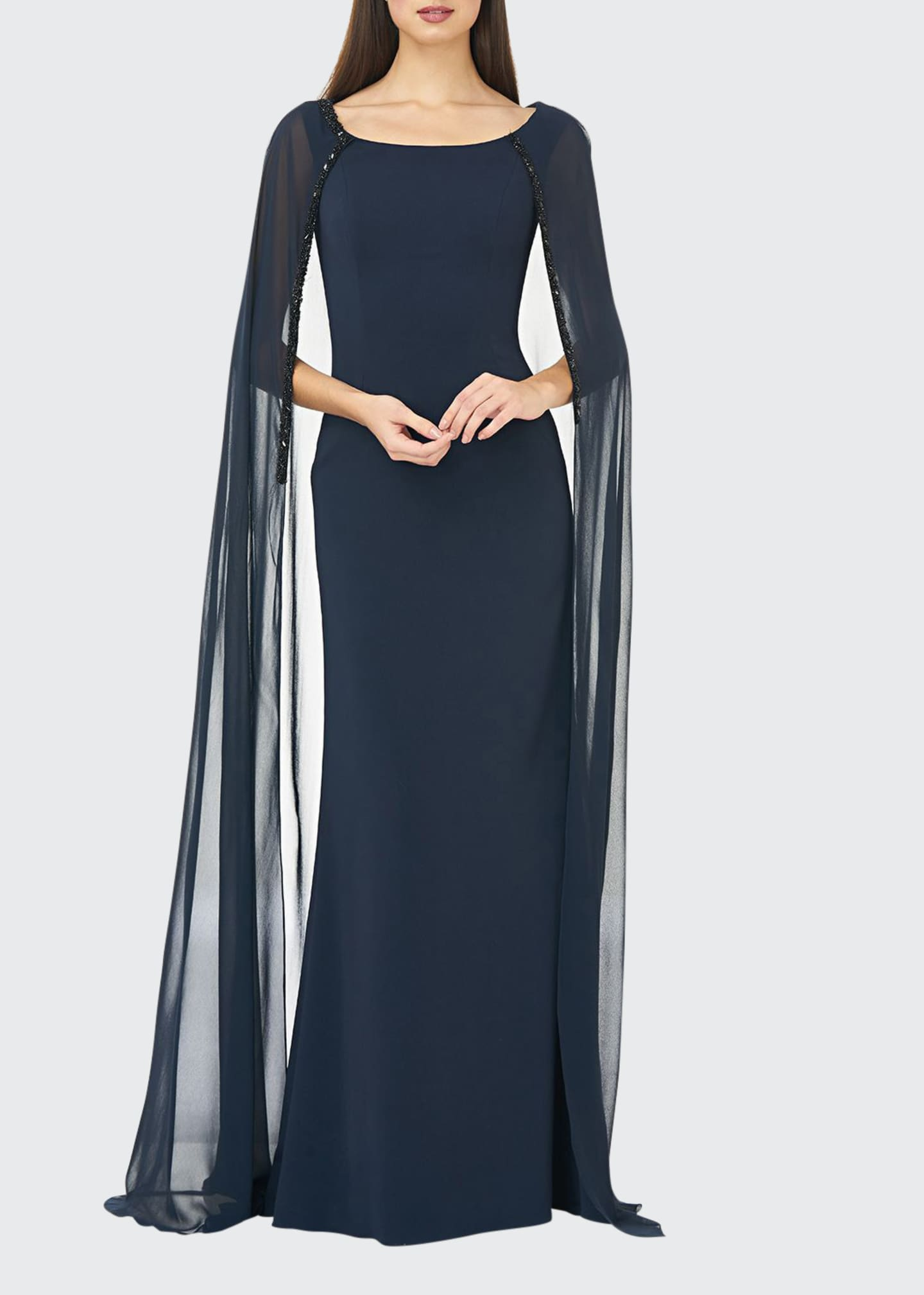 Carmen Marc Valvo Infusion Boat-Neck Crepe Column Gown
