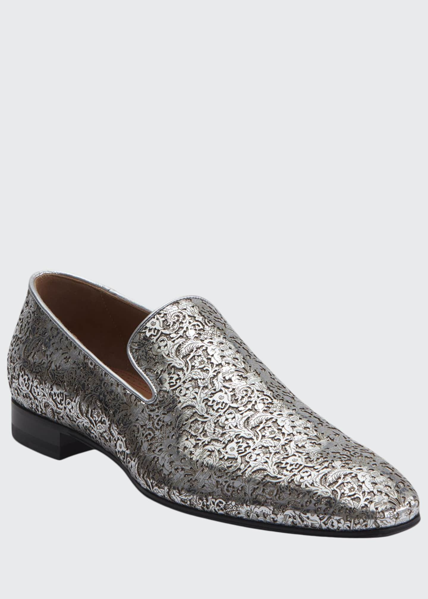 Image 1 of 2: Men's Dandelion Laser-Cut Metallic Leather Loafers