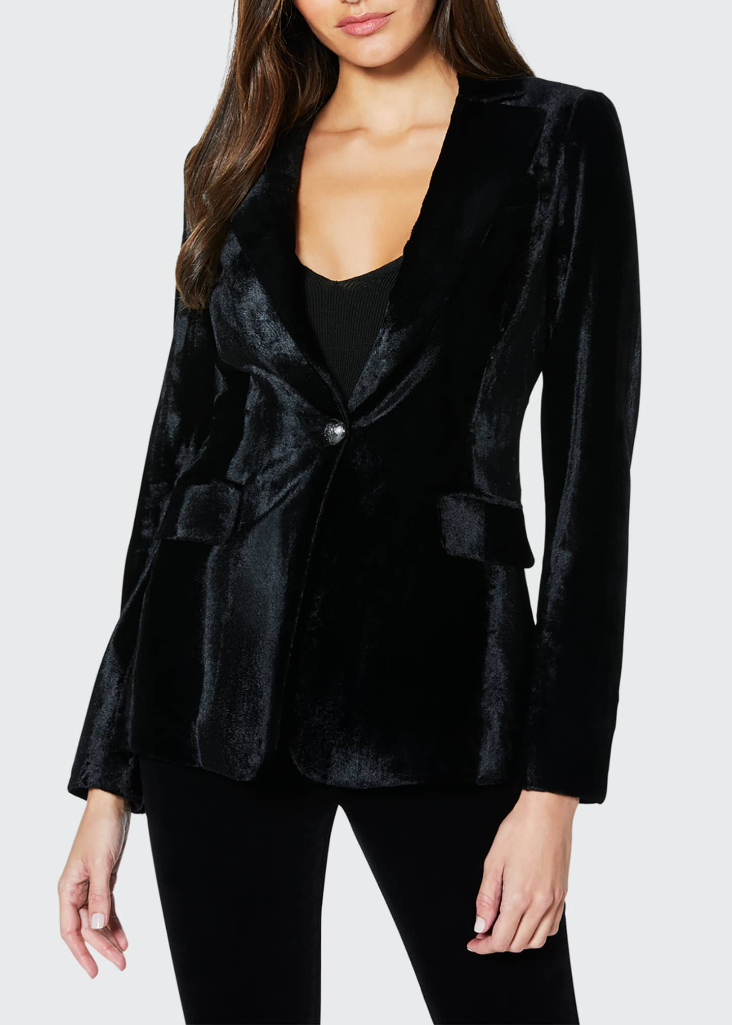 Image 1 of 3: Eli Velvet Single-Button Jacket