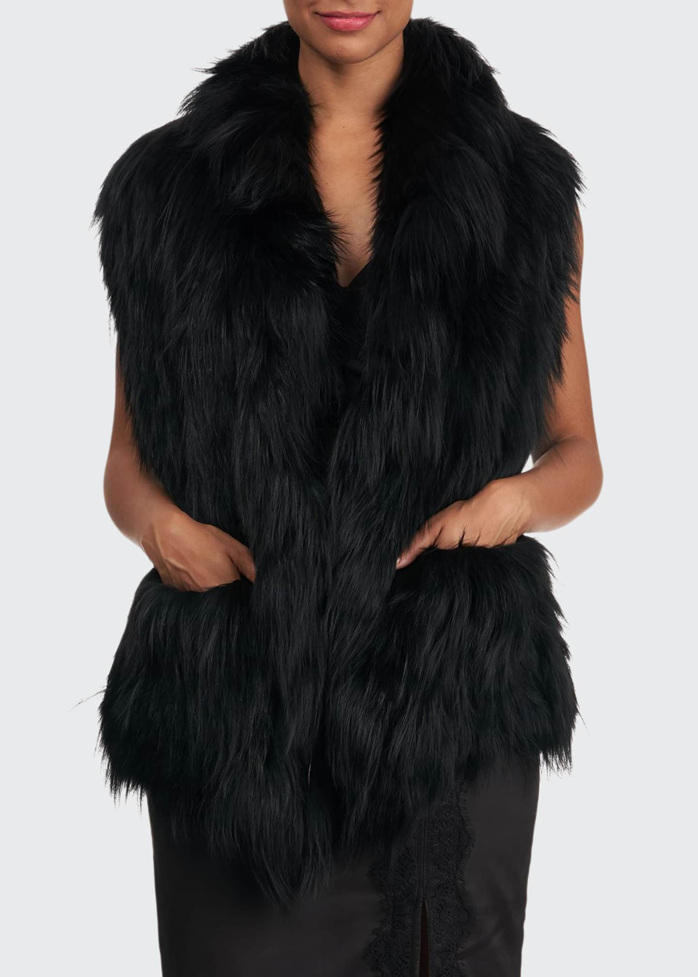 Image 1 of 4: S-Cut Fox Fur Ruffle Pocket Stole