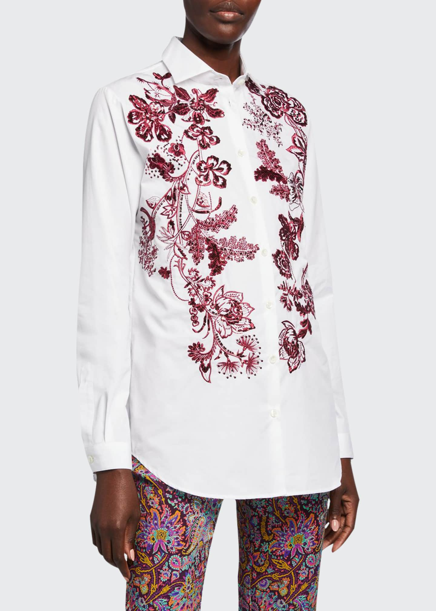 Image 1 of 2: Floral Embroidered Poplin Shirt