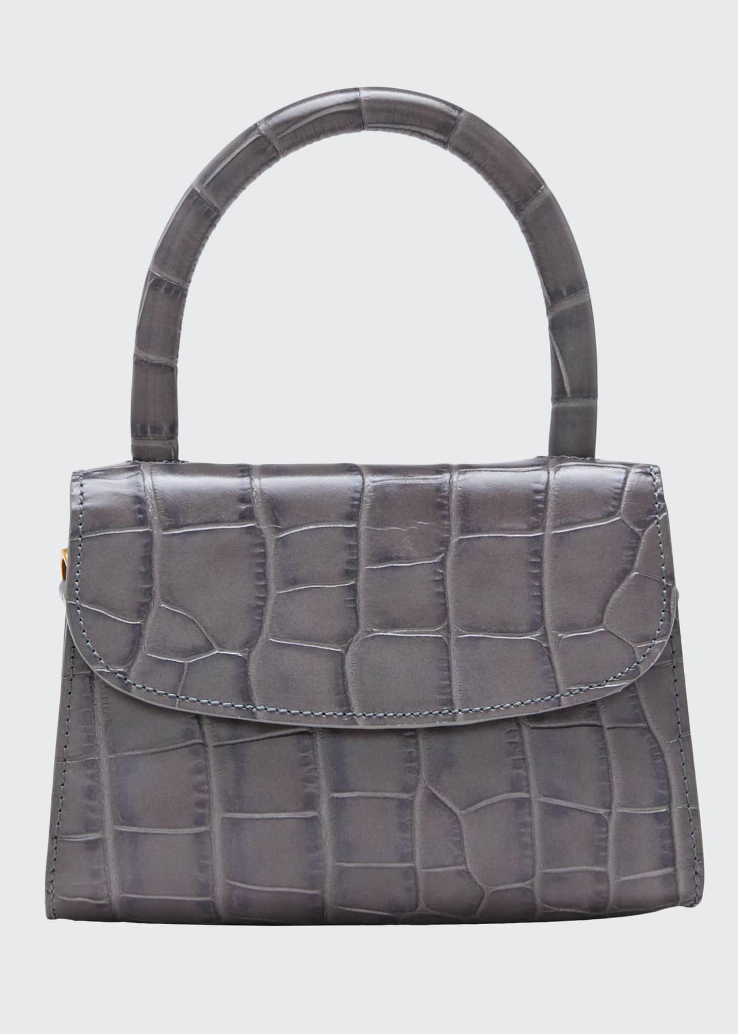 BY FAR Mini Croc-Embossed Top Handle Bag