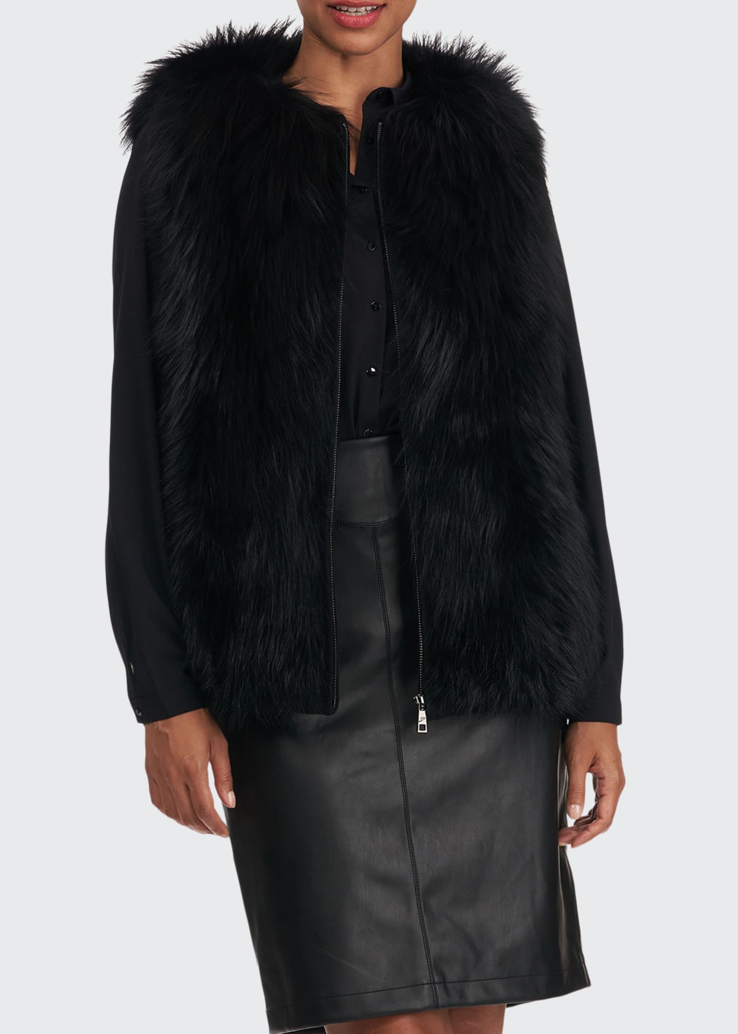 Image 1 of 5: Fox Fur Wool Back Vest