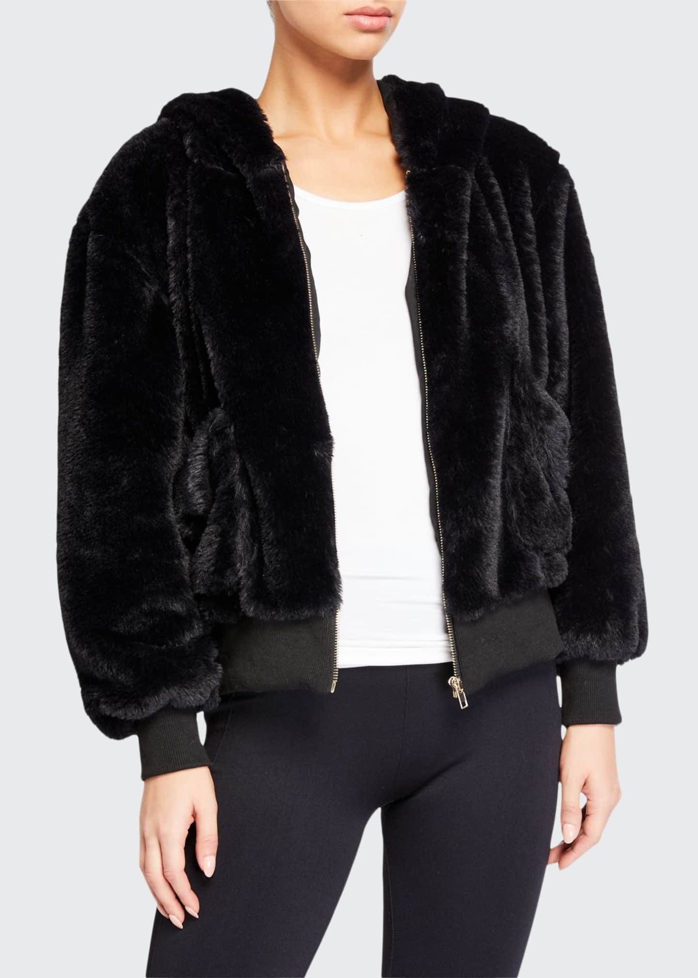 Image 1 of 3: Fuzzy Faux-Fur Hooded Teddy Jacket