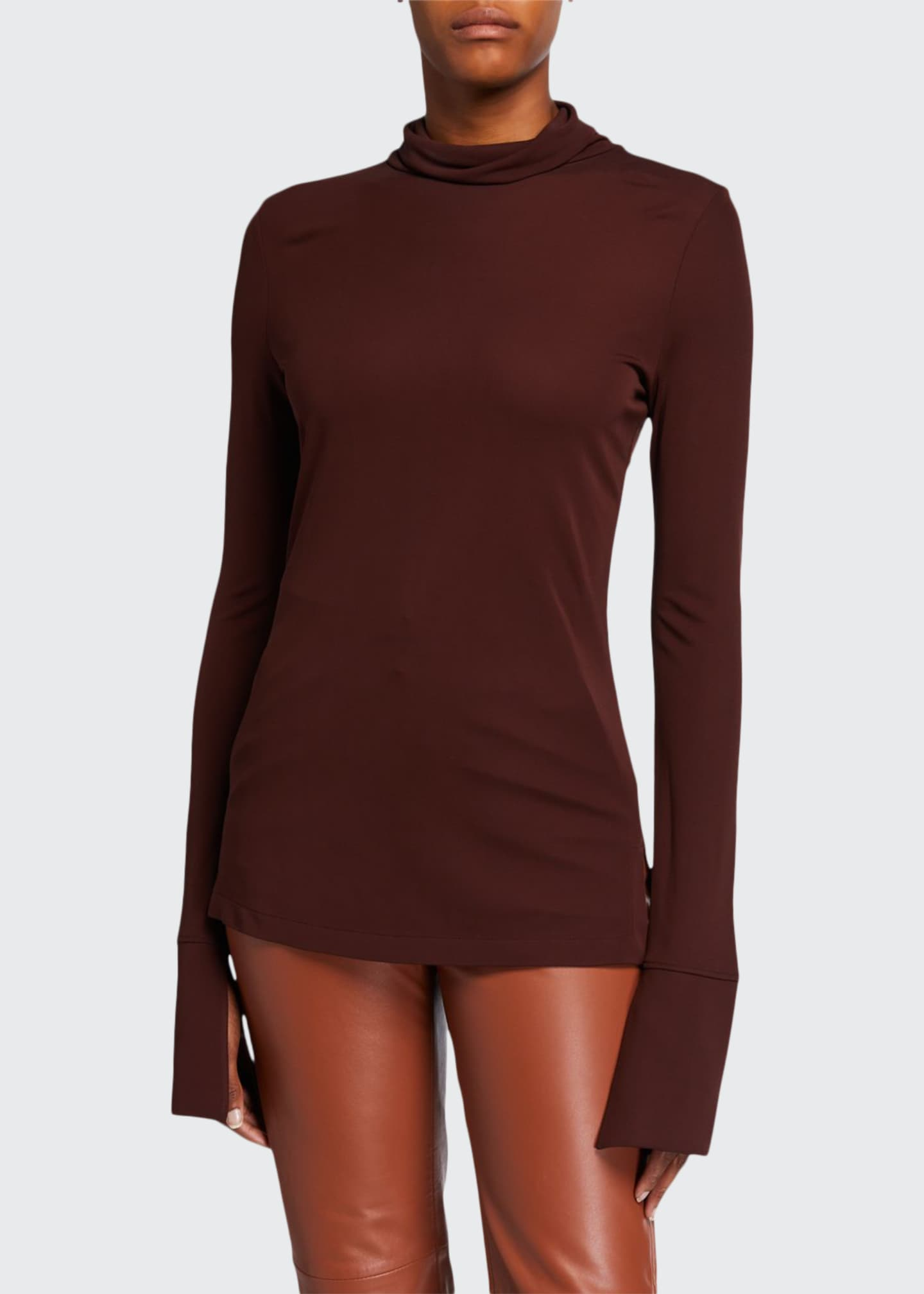 Image 1 of 2: High-Neck Long-Sleeve Crepe Jersey Top