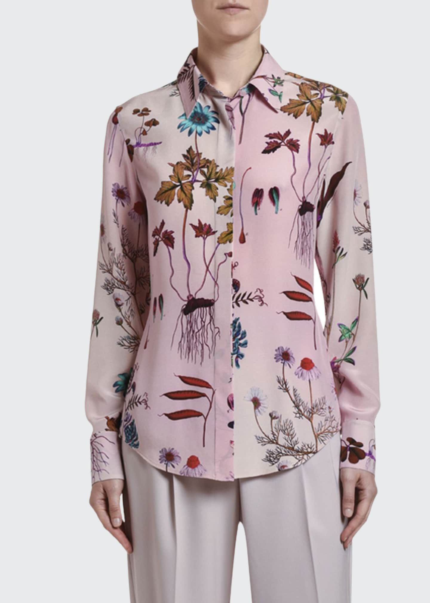 Image 1 of 2: Floral-Print Silk Button-Front Shirt