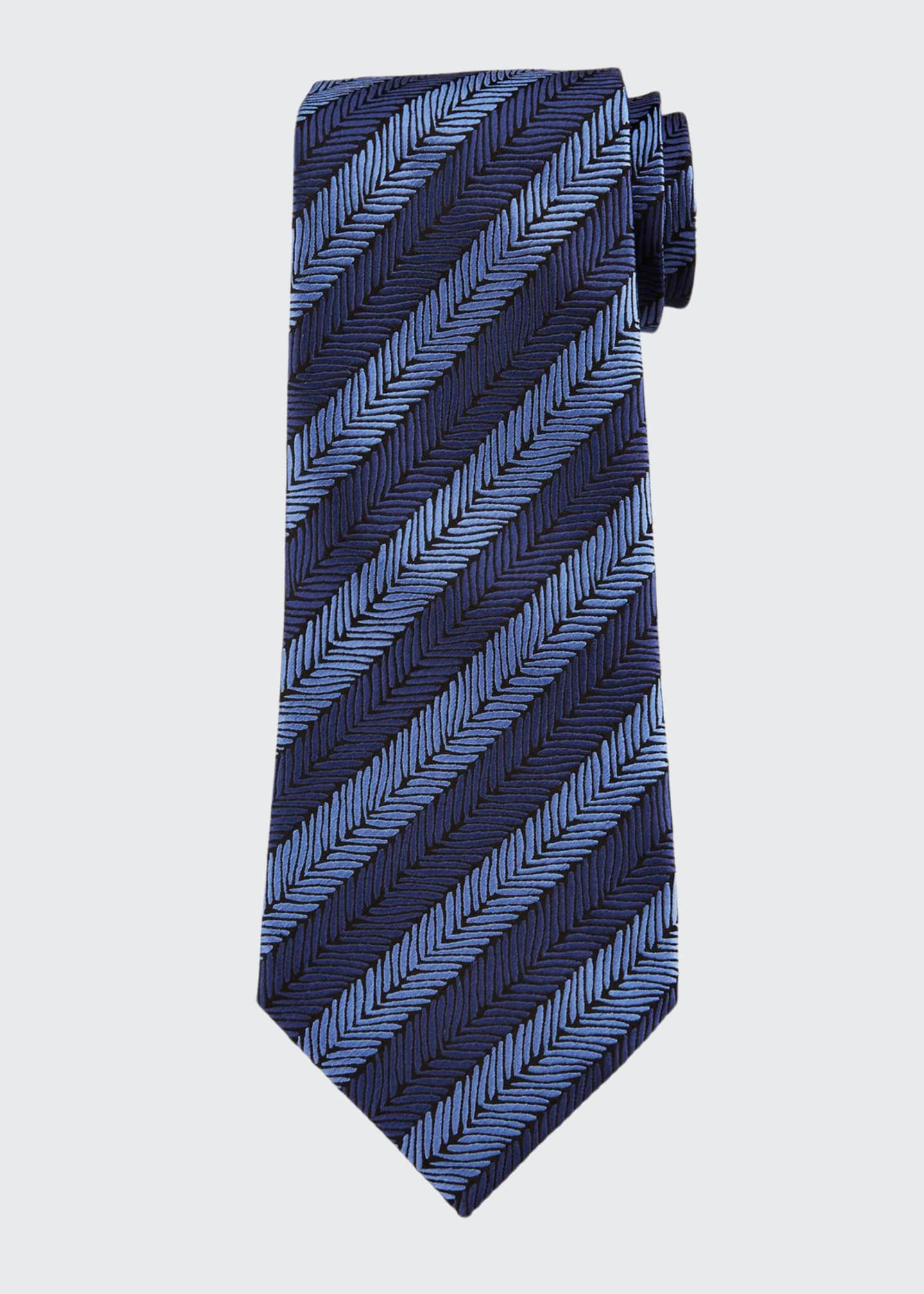 Image 1 of 1: Herringbone Stripe Silk Tie, Blue