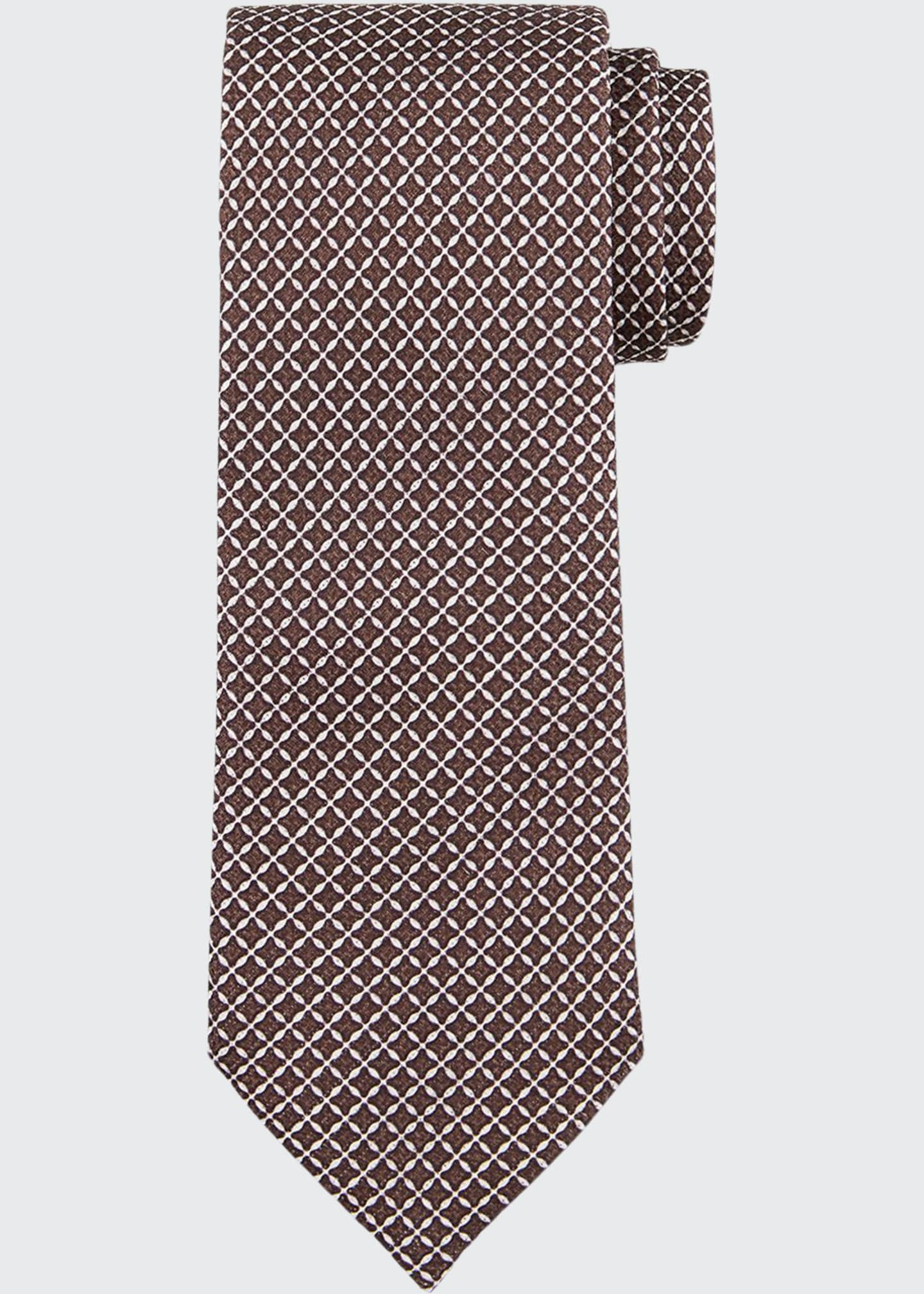 Image 1 of 1: Men's Lattice-Print Silk Tie, Brown