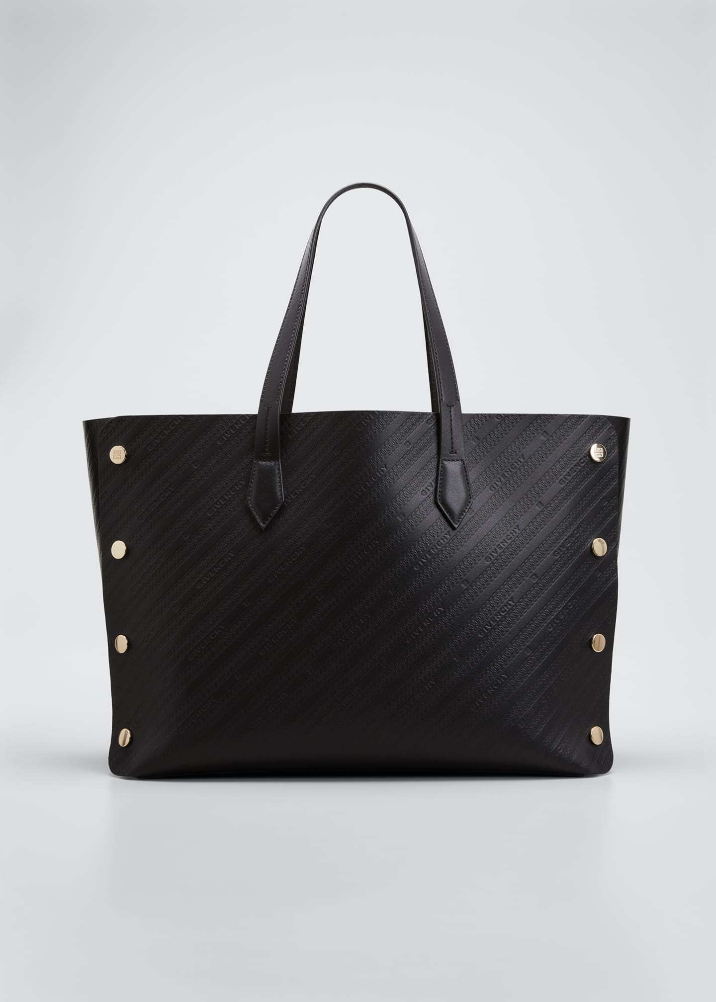 Image 1 of 4: Medium Bond Logo-Embossed Leather Shopping Tote Bag