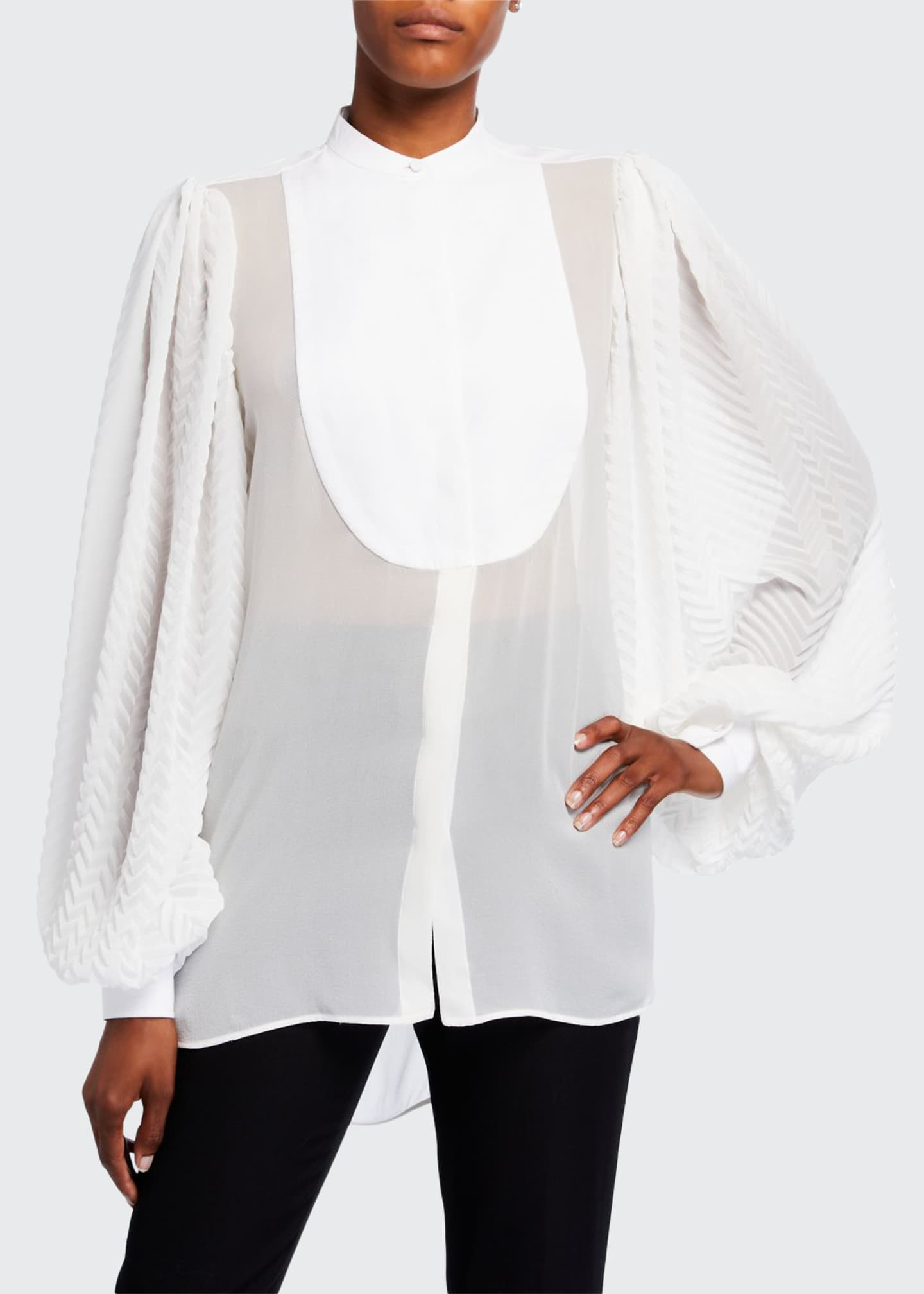 Image 1 of 2: Georgette Chevron-Sleeve Blouse w/ Puffy Sleeves