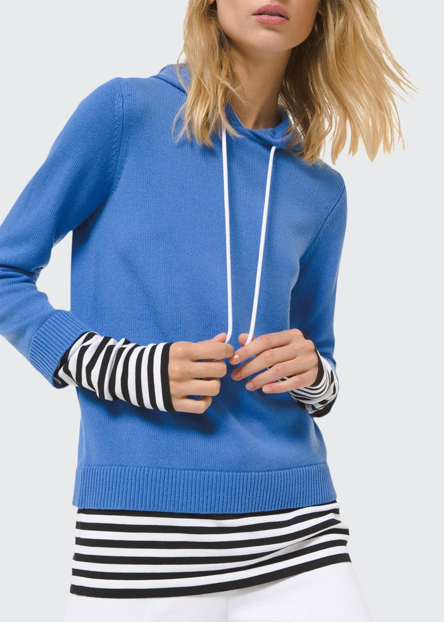 Michael Kors Collection Cashmere Layered Pullover Hoodie w/