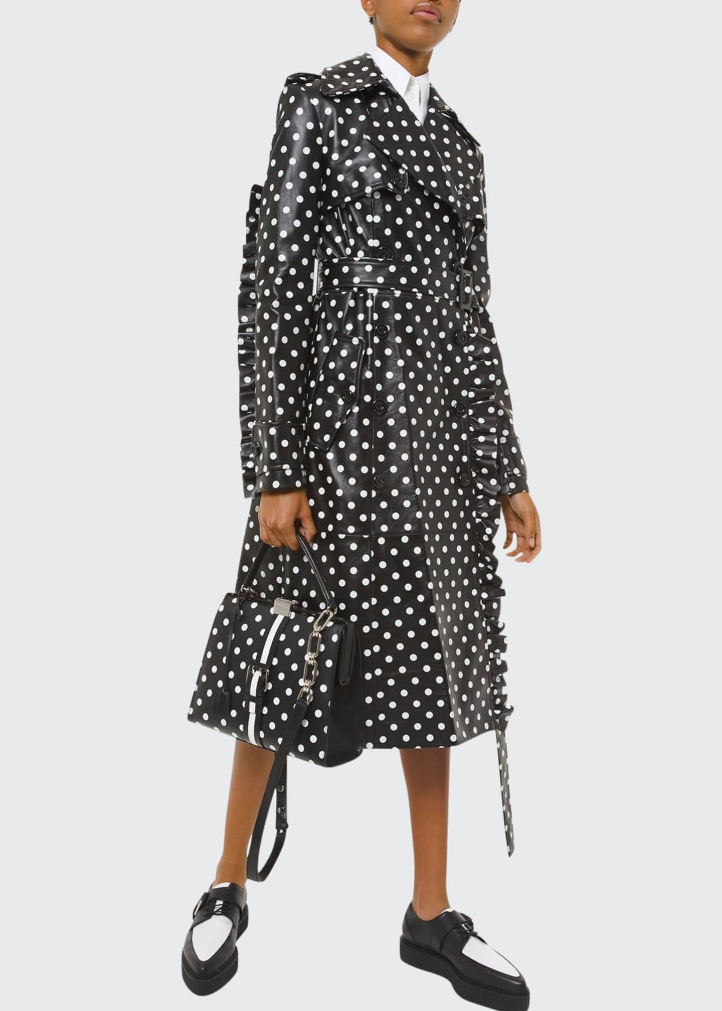 Michael Kors Collection Polka-Dotted Leather Ruffle-Seam Trench
