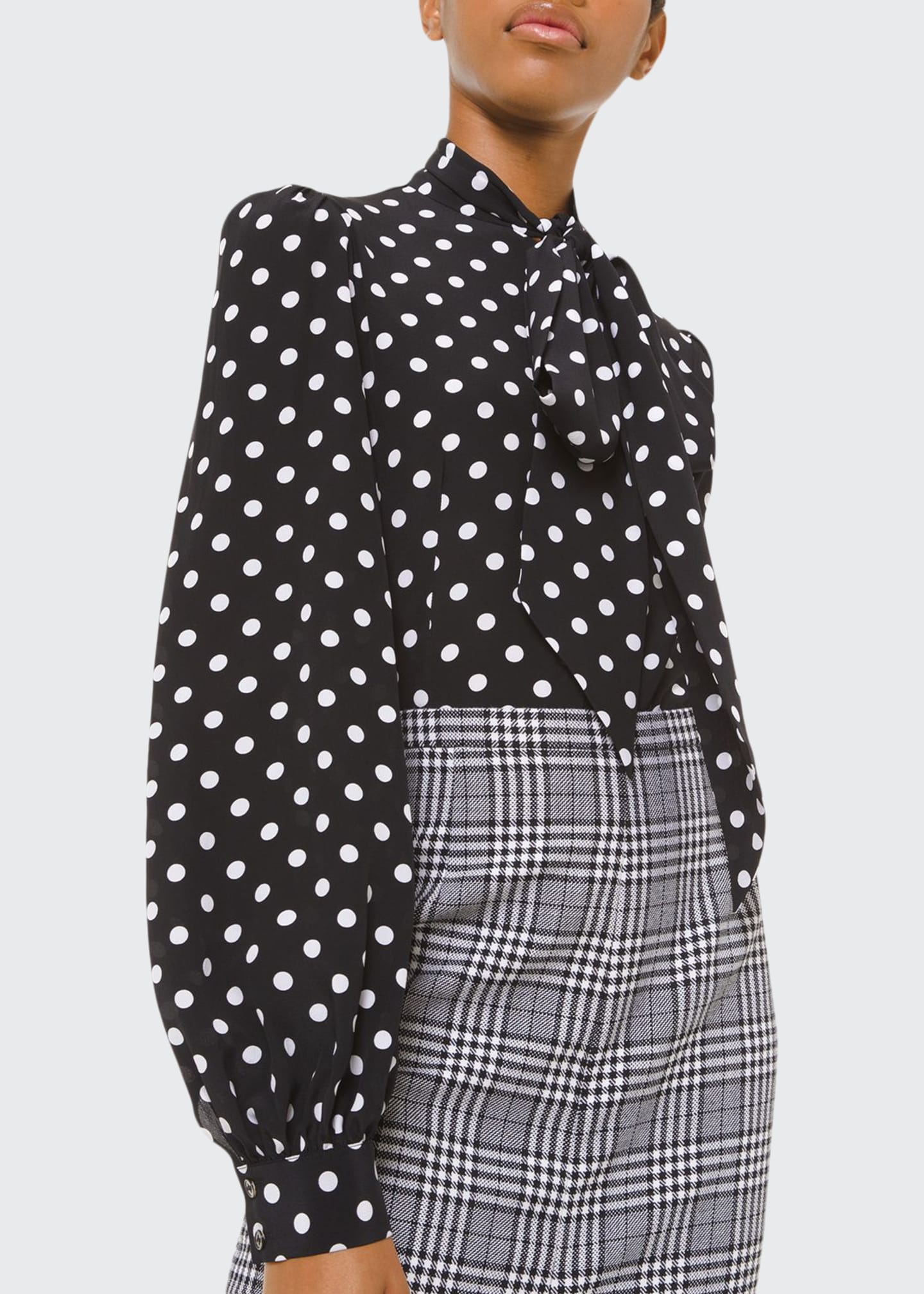 Michael Kors Collection Silk Polka-Dotted Bowed Long-Sleeve