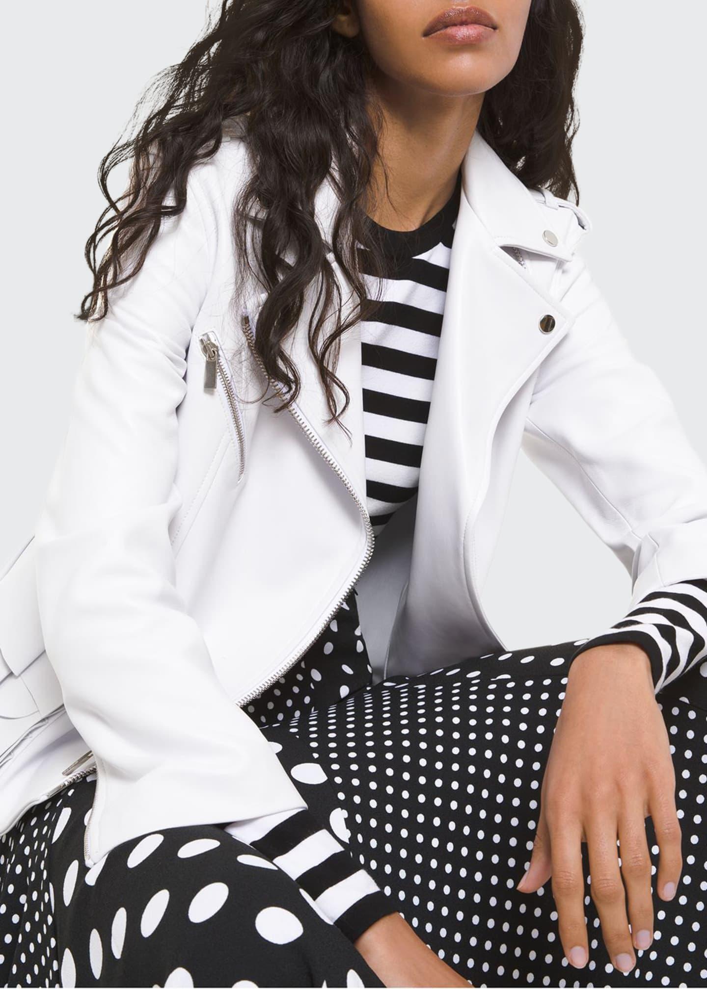 Michael Kors Collection Ruffled Peplum Leather Moto Jacket