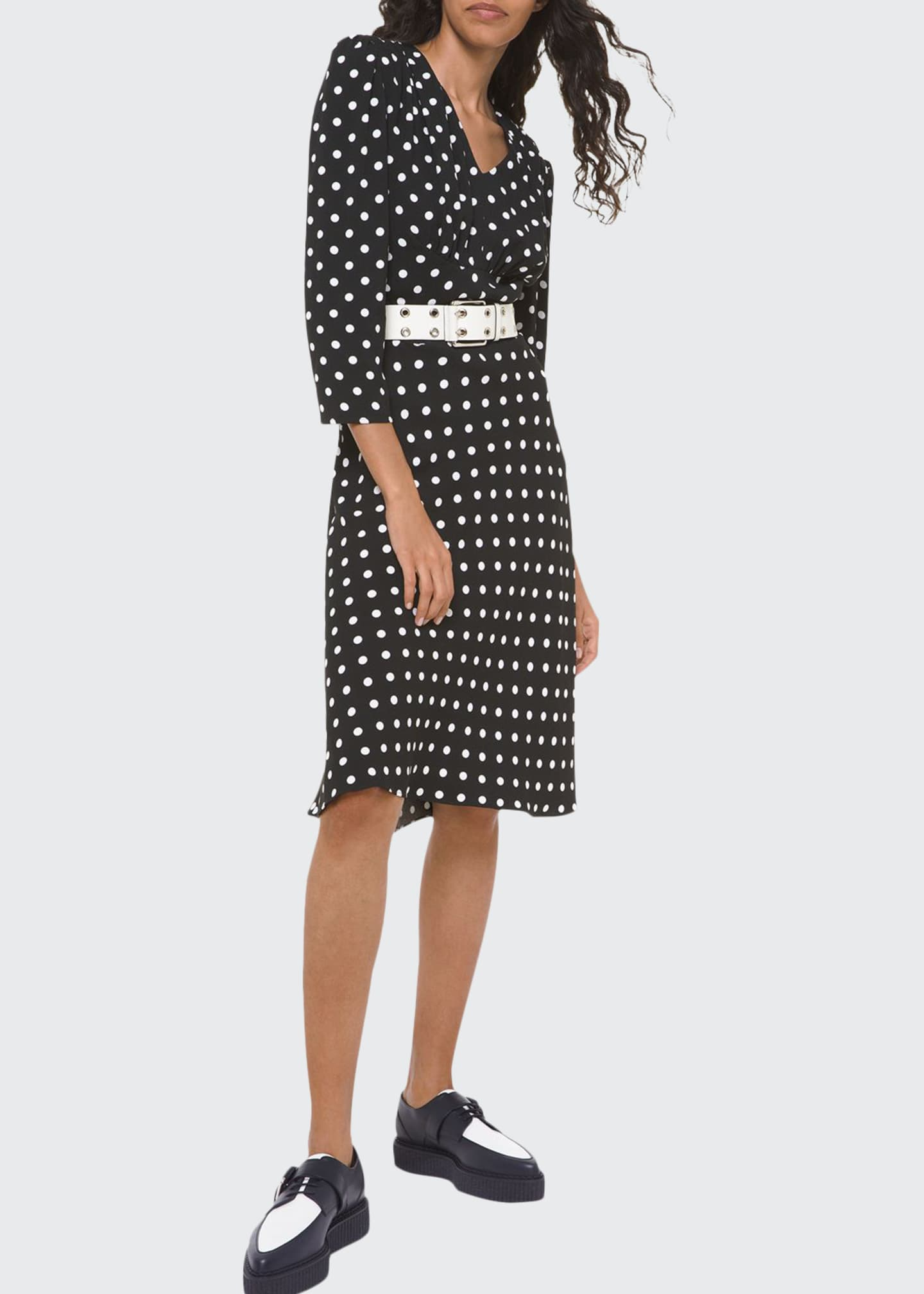 Image 1 of 2: Polka-Dot Belted V-Neck Flared Dress