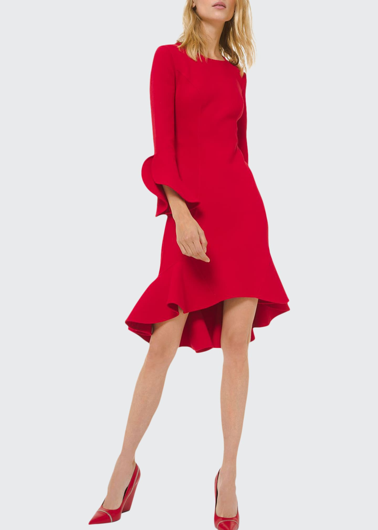 Michael Kors Collection Long-Sleeve Flounce Dress