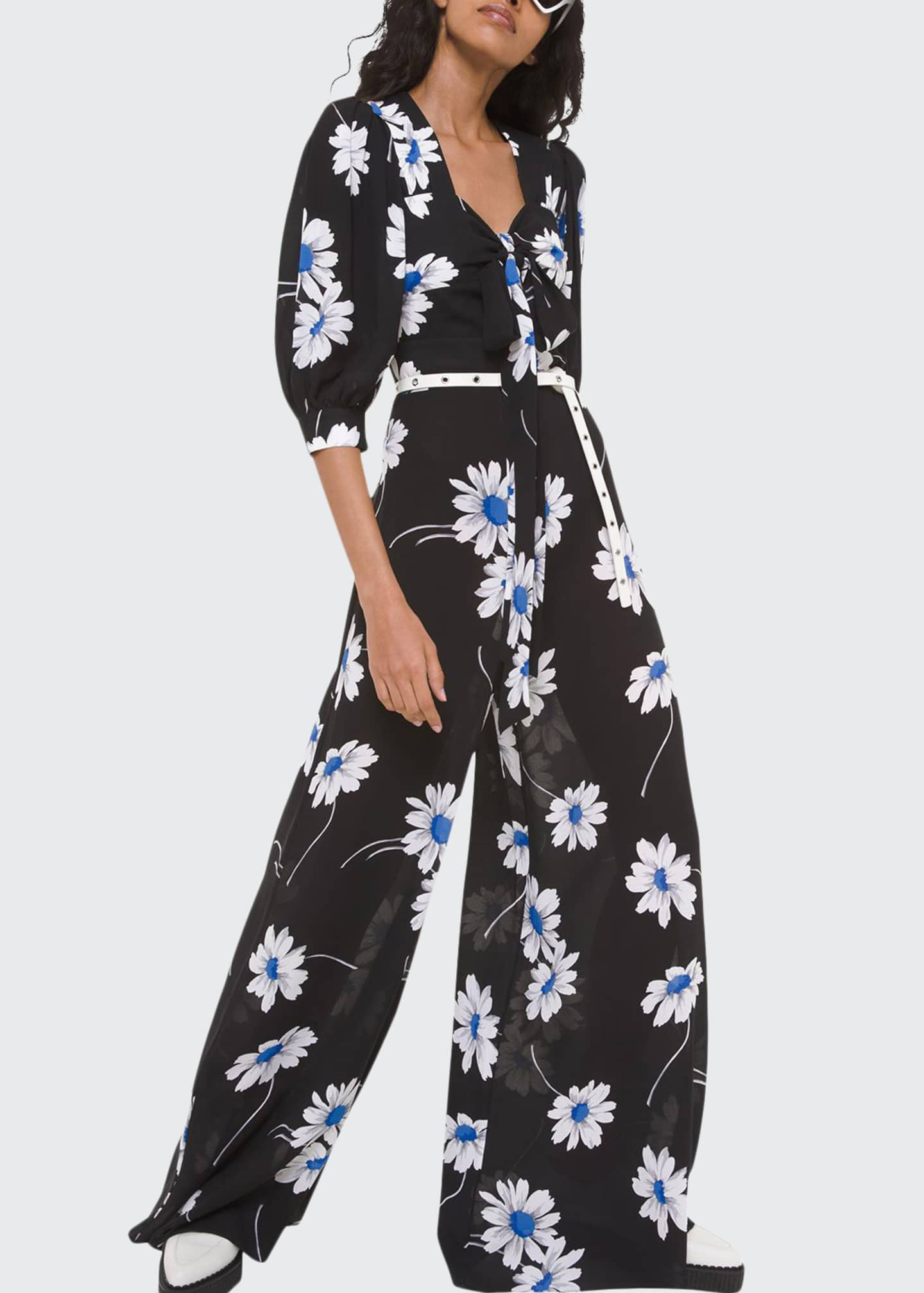 Image 1 of 2: Silk Tie-Front Palazzo Jumpsuit