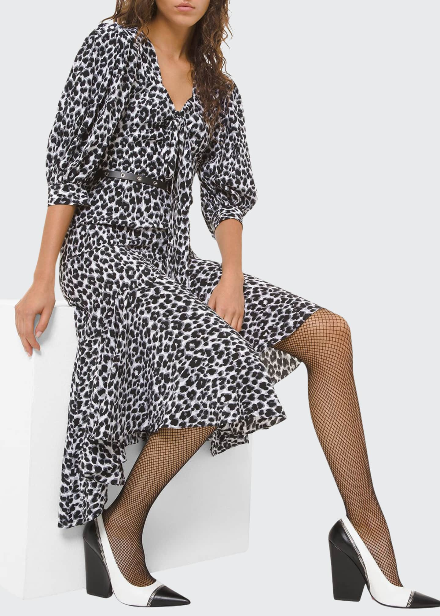 Image 1 of 2: Leopard-Print Silk Asymmetric Dress
