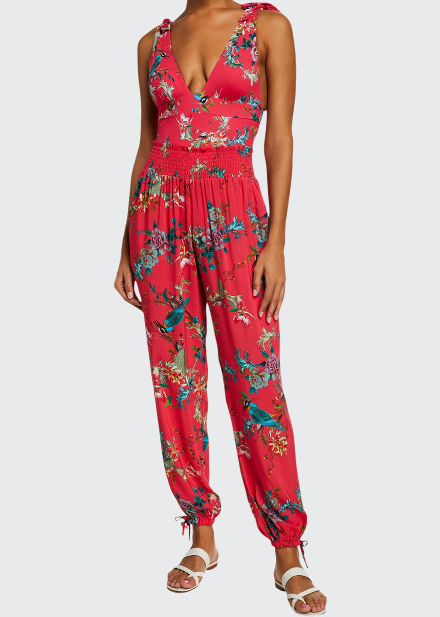 Johnny Was Malakye Smocked Floral Coverup Joggers