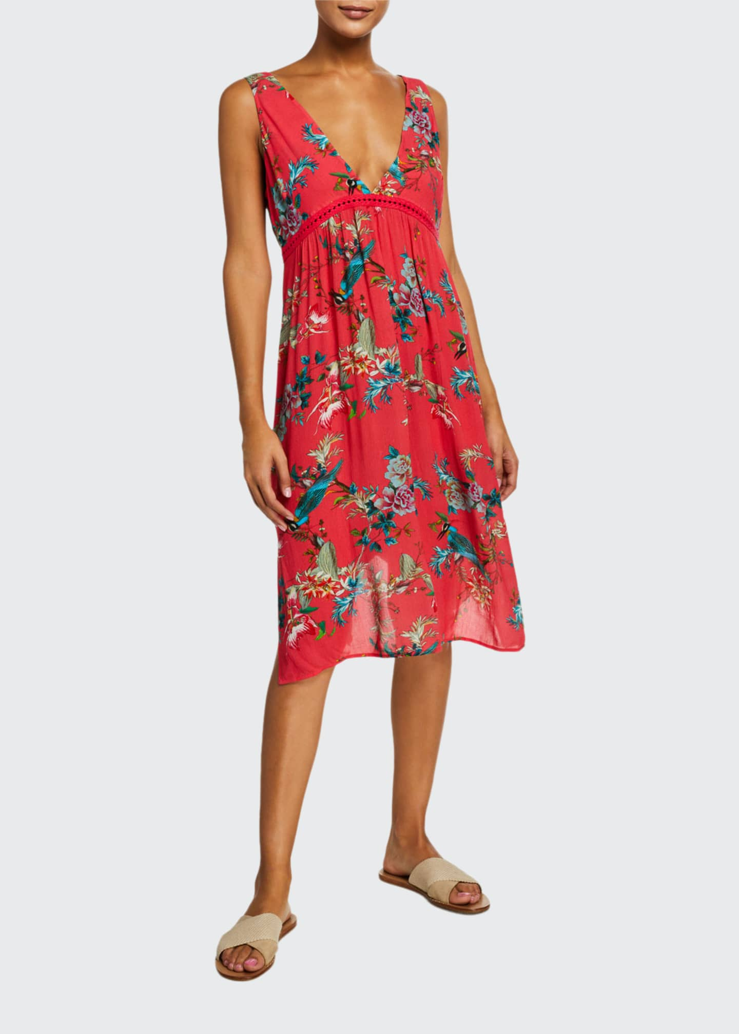 Johnny Was Malakye Floral Sleeveless Flowy Coverup Dress