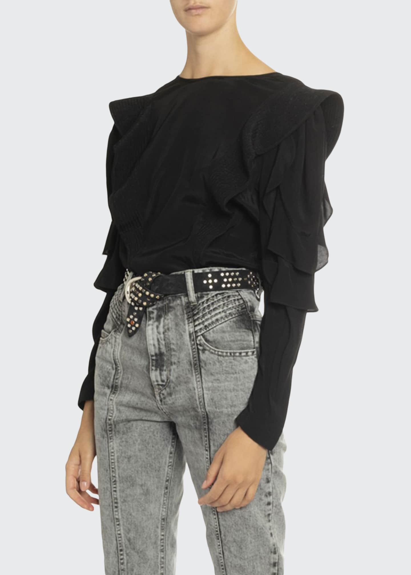 Etoile Isabel Marant Constance Ruffle Long-Sleeve Top