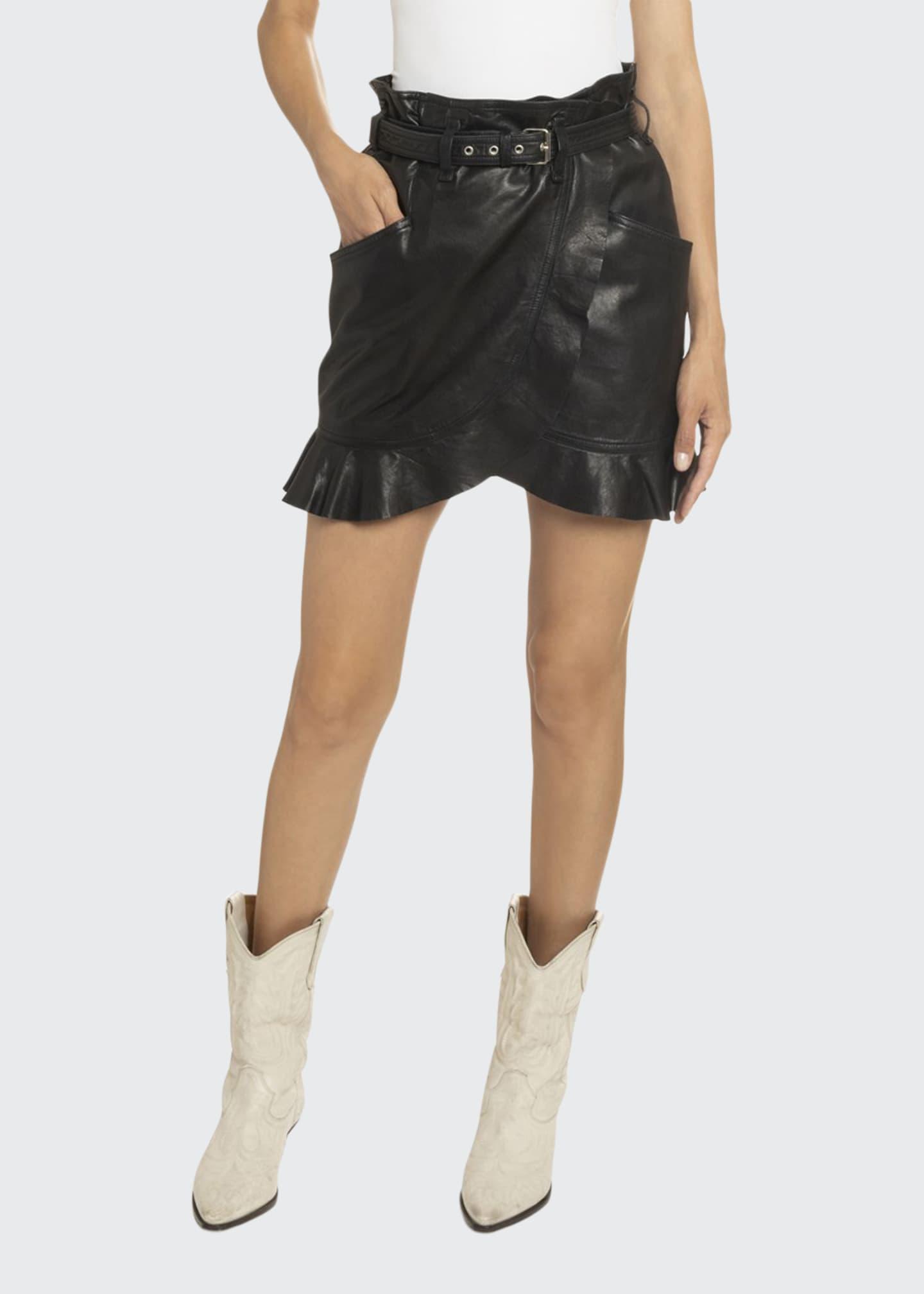 Etoile Isabel Marant Qing Belted Ruffle-Leather Skirt