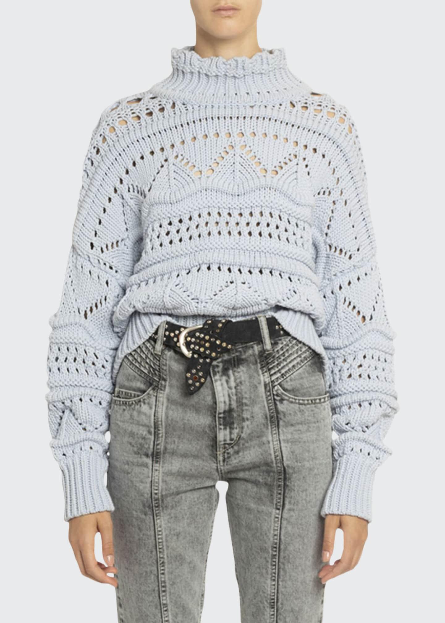 Etoile Isabel Marant Naka Open-Knit Turtleneck Sweater