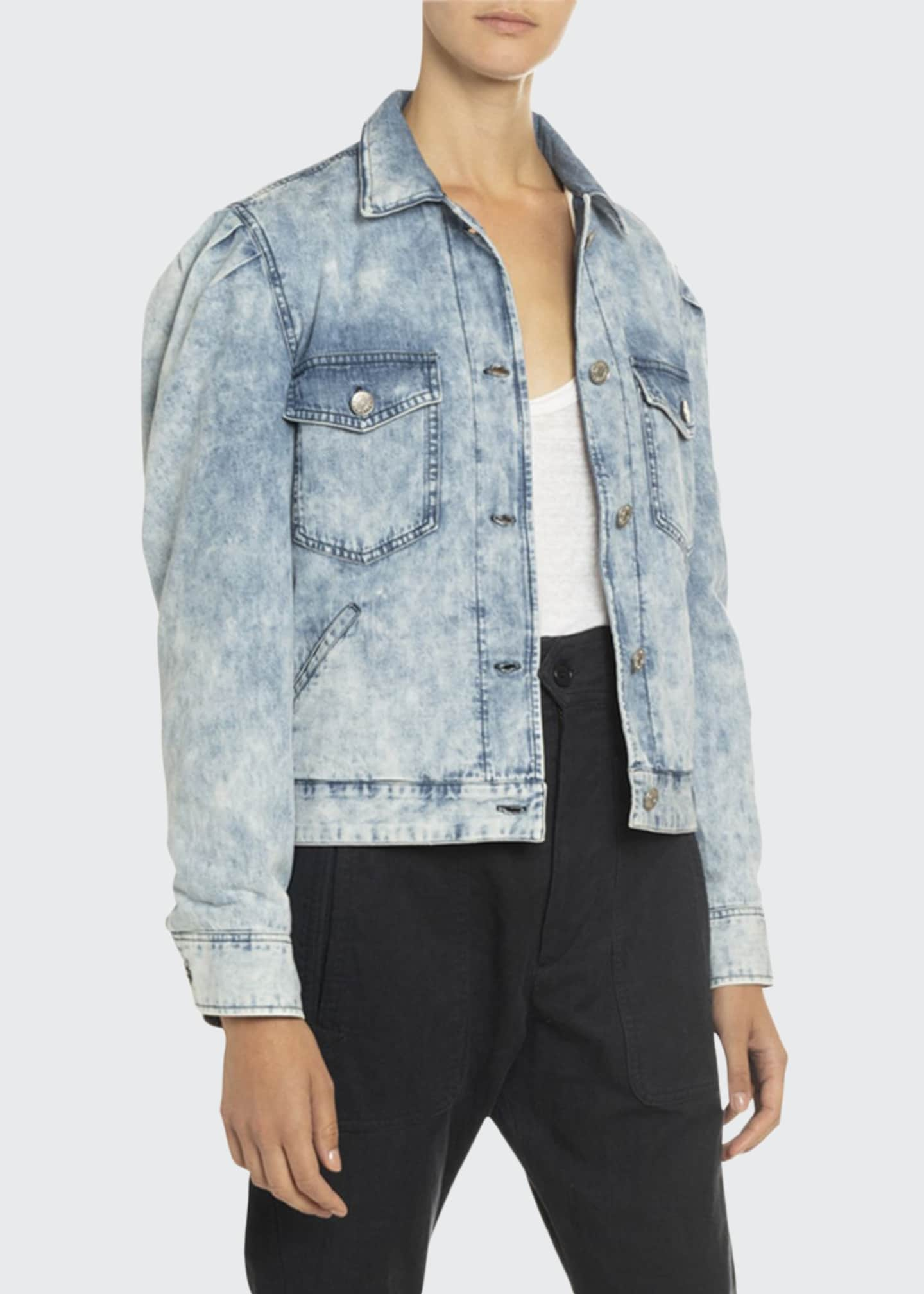 Image 1 of 3: Iolinea Acid Wash Puff-Sleeve Denim Jacket