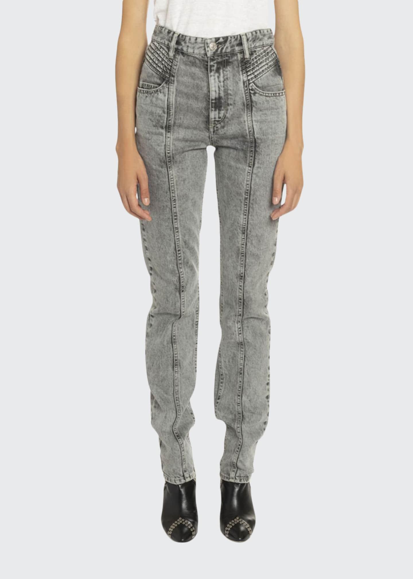 Etoile Isabel Marant Hominy Acid-Washed Moto Jeans