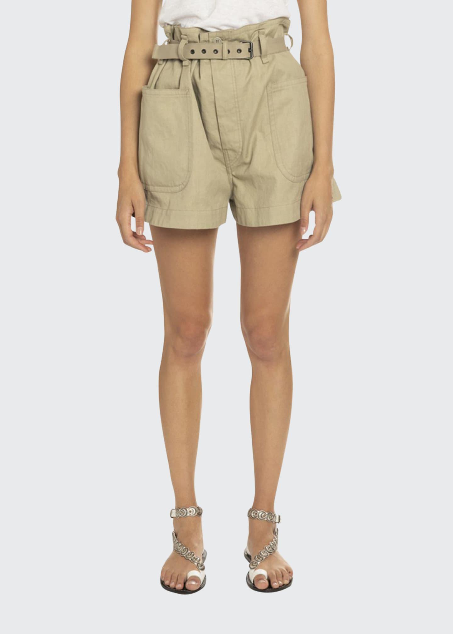 Etoile Isabel Marant Rike Belted Khaki Shorts