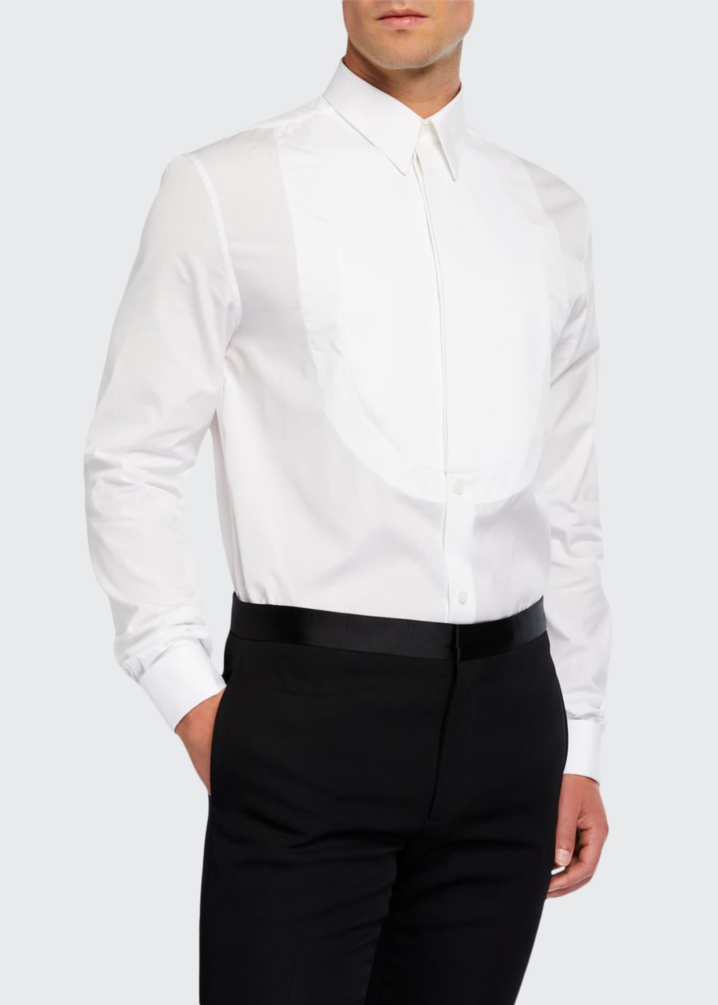 Givenchy Men's Pique Plastron-Front Tuxedo Shirt