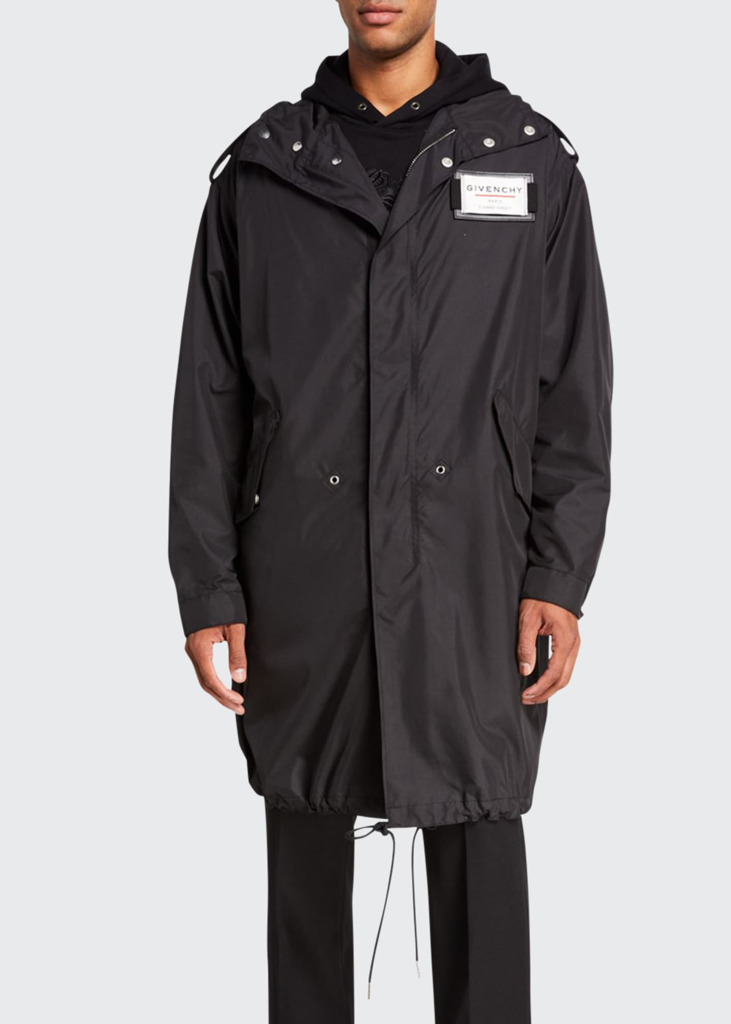 Image 1 of 2: Men's Taffeta Hooded Parka with Chest Label