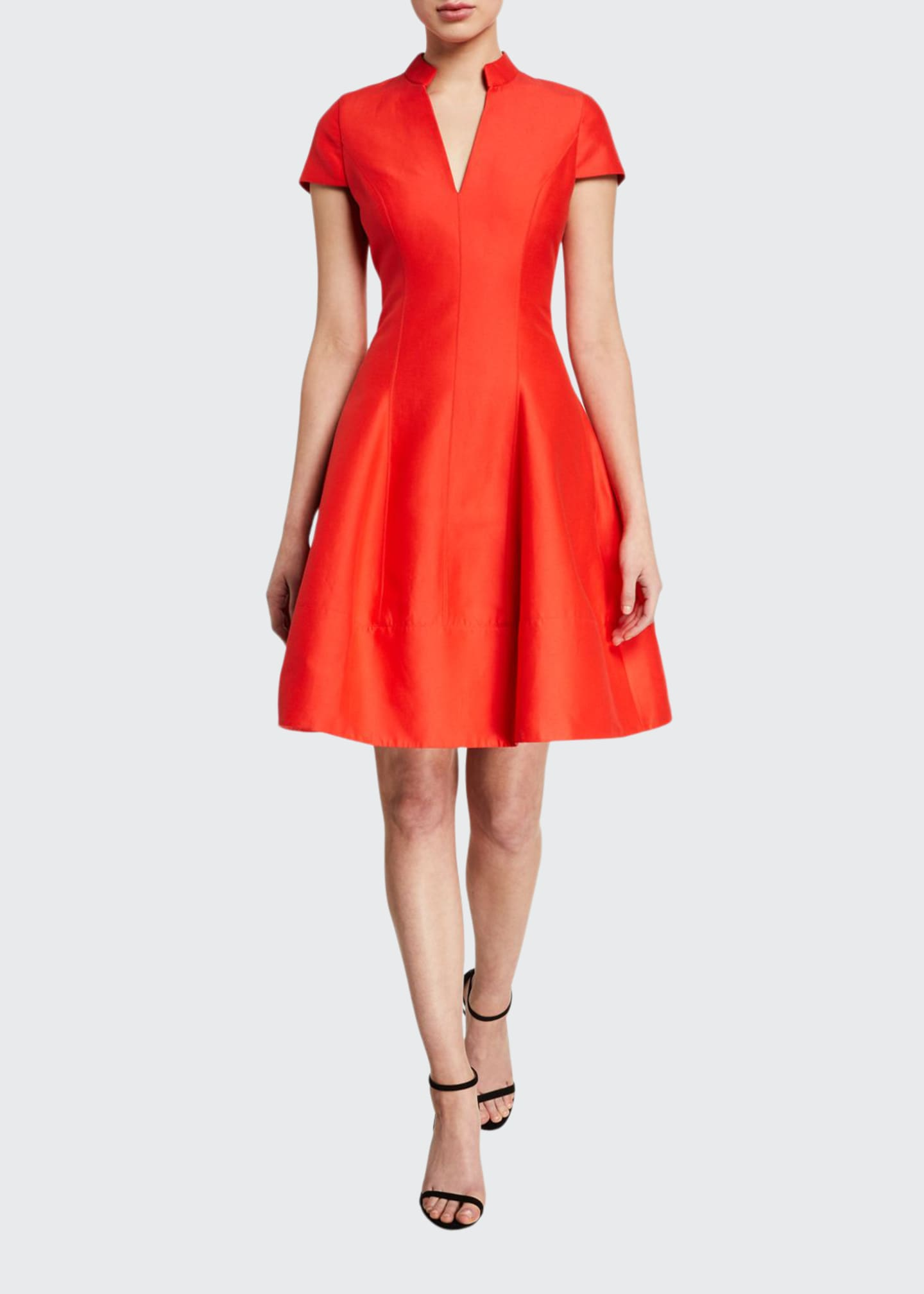 Halston V-Neck Cap-Sleeve Silk Faille Dress w/ Mandarin