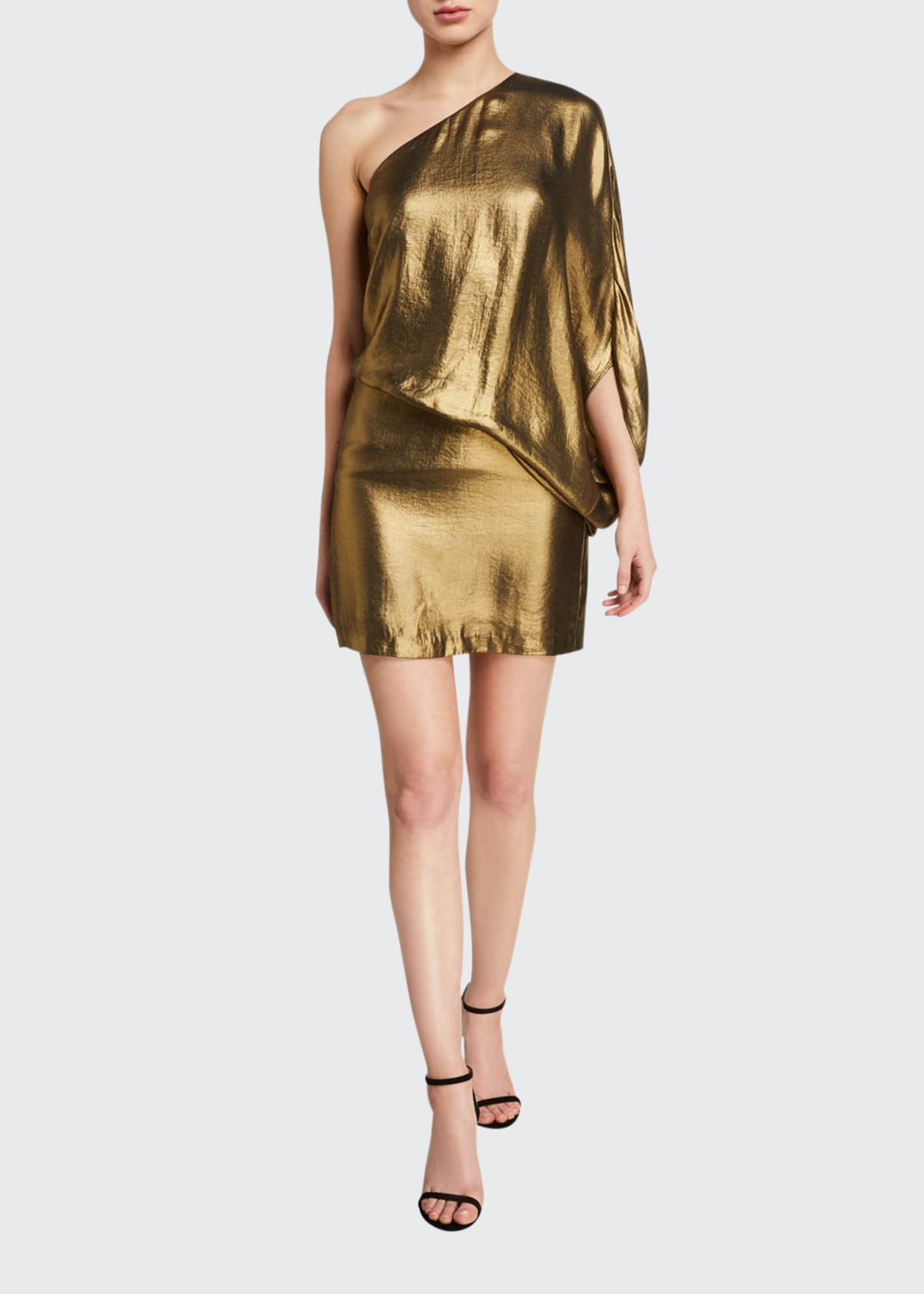 Image 1 of 2: One-Shoulder Metallic Drape Dress